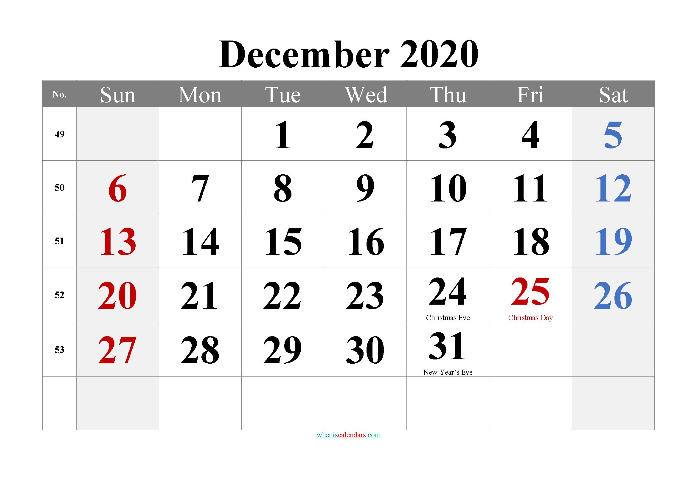 December 2020 Printable Calendar with Holidays