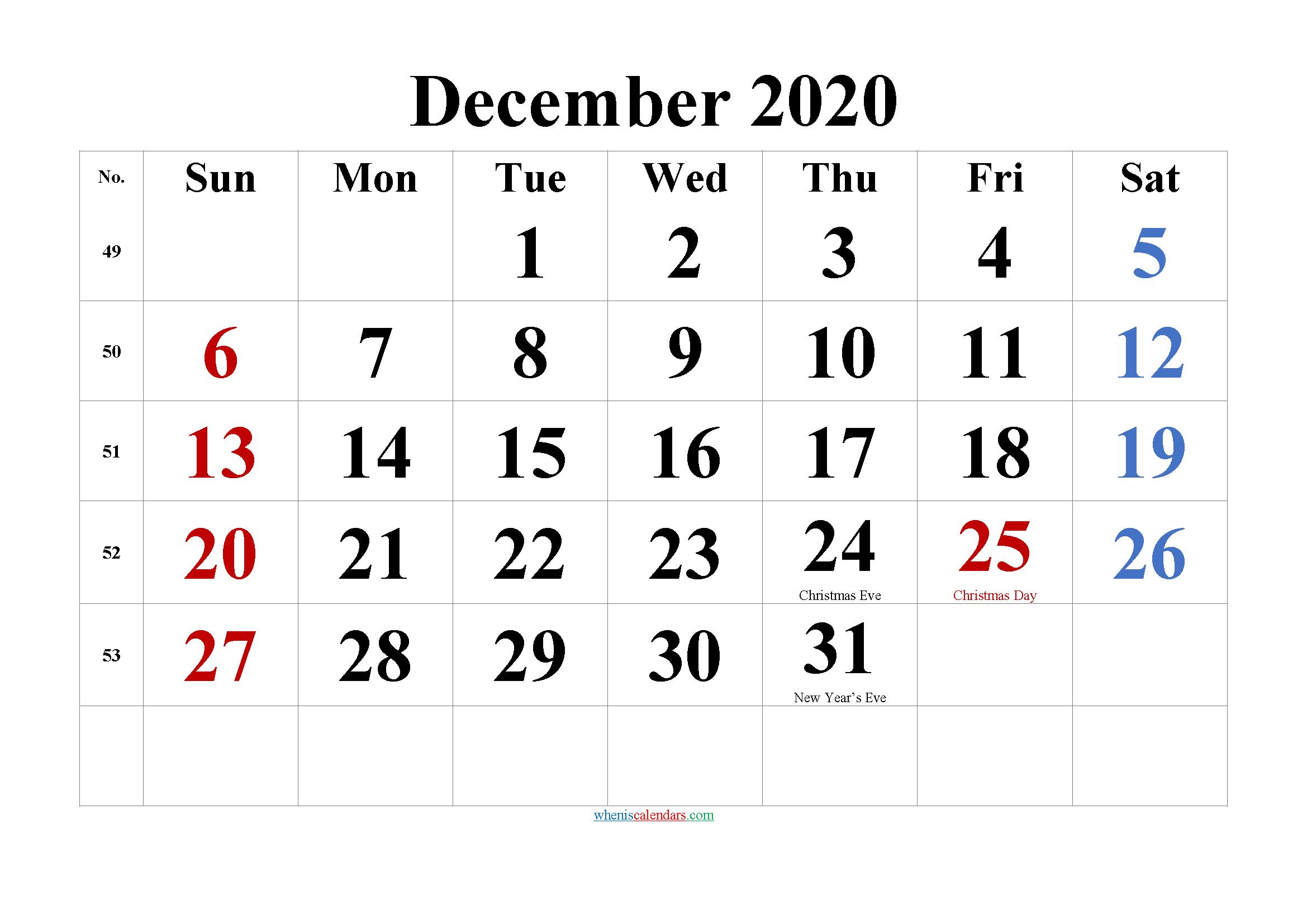 Printable December 2020 Calendar with Holidays