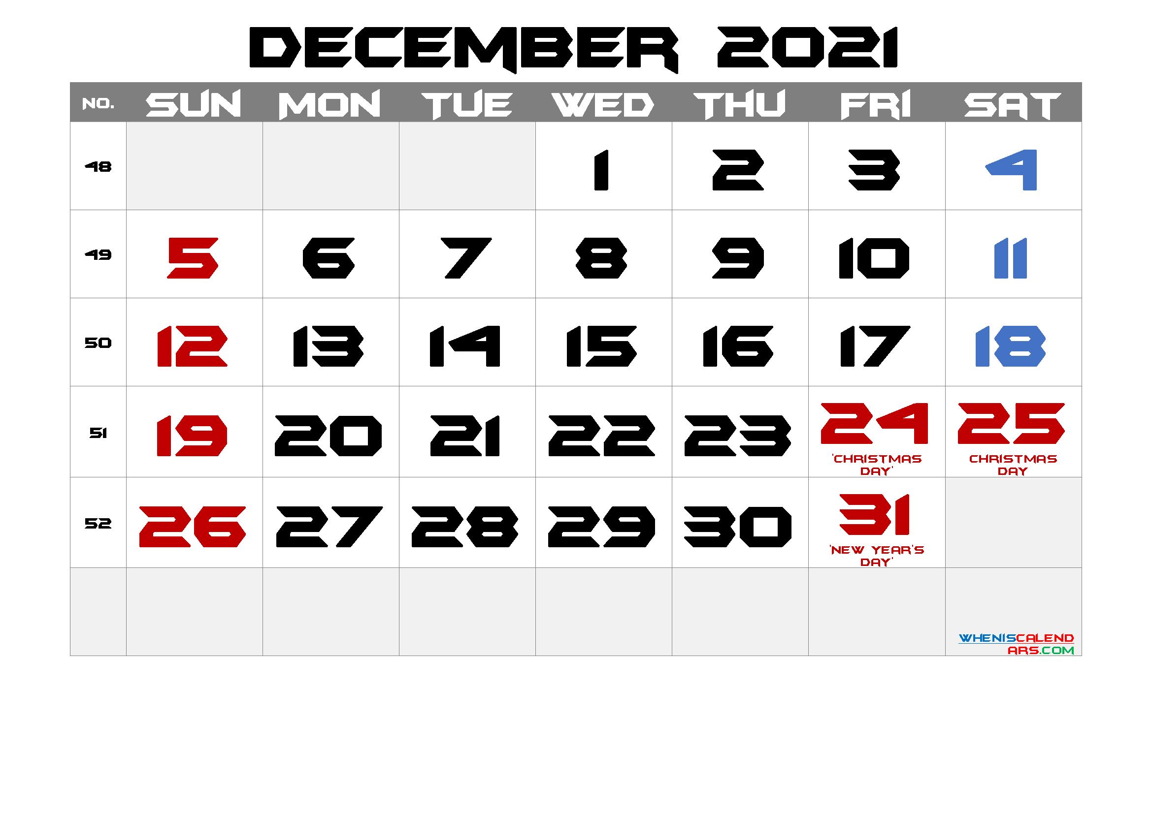 December 2021 Free Printable Calendar with Holidays