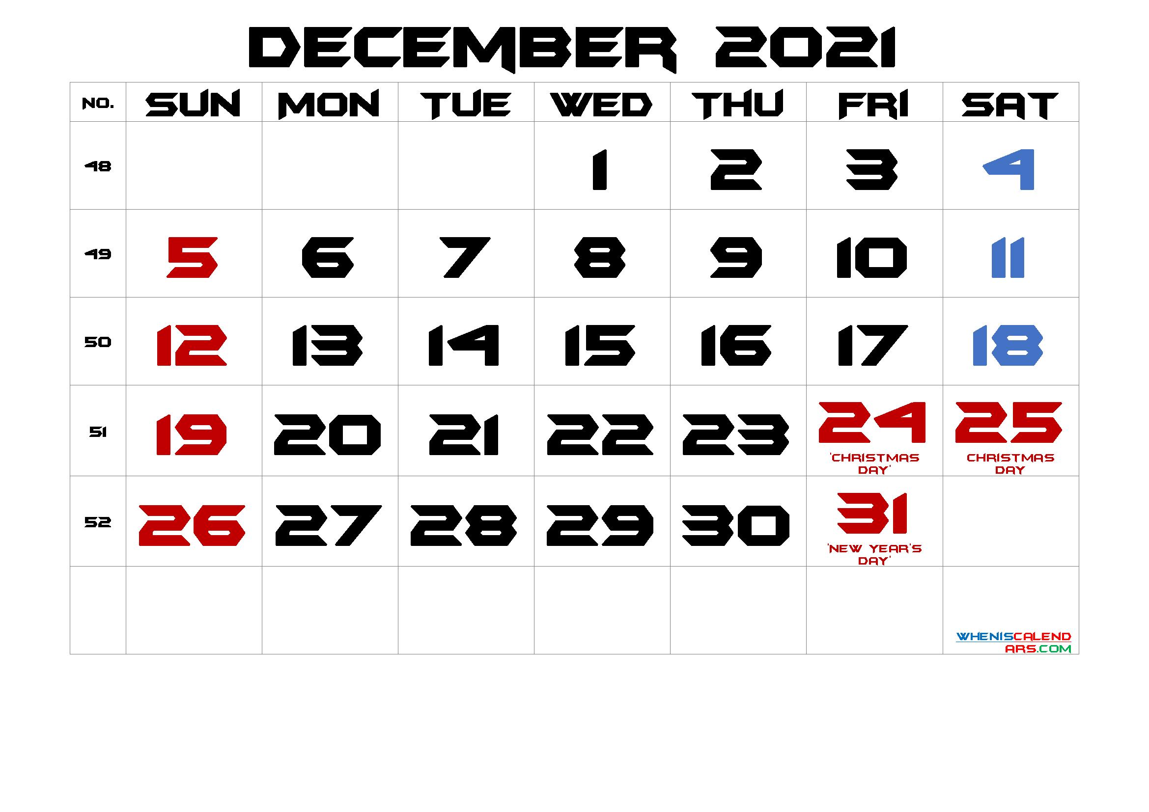 December 2021 Free Printable Calendar