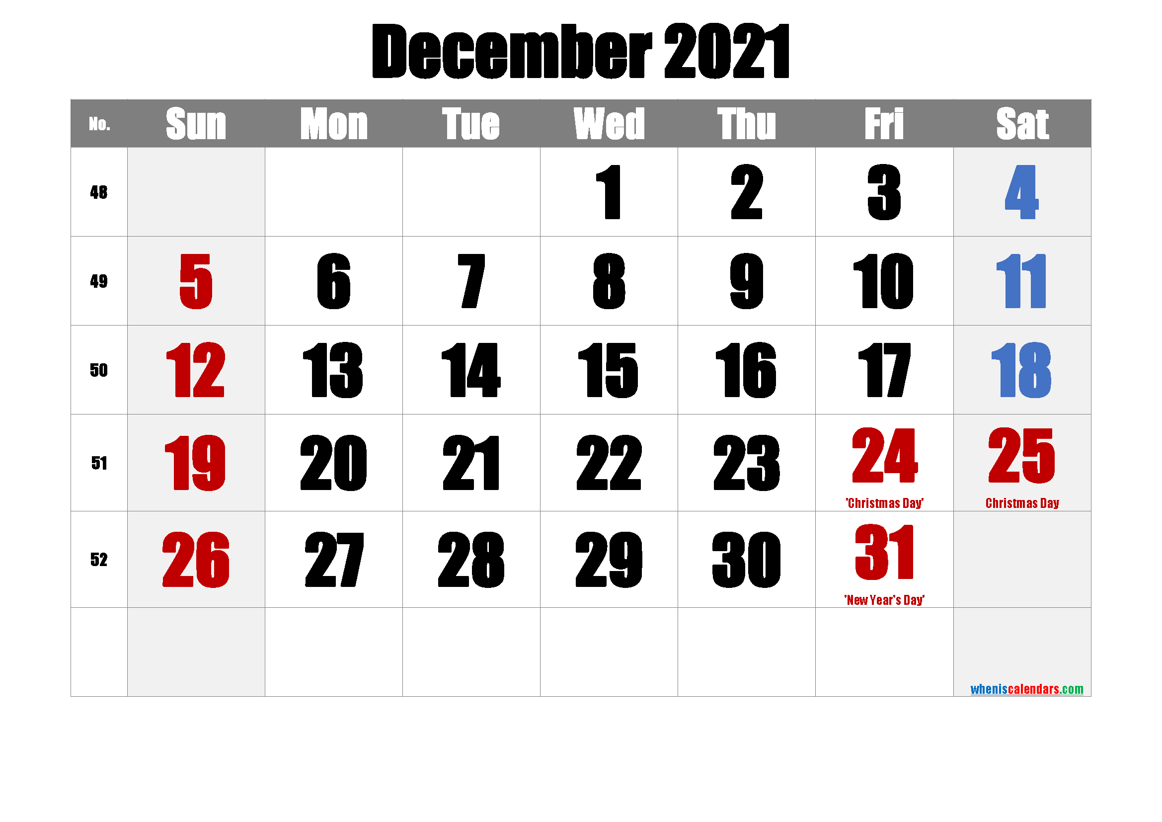 DECEMBER 2021 Printable Calendar with Holidays