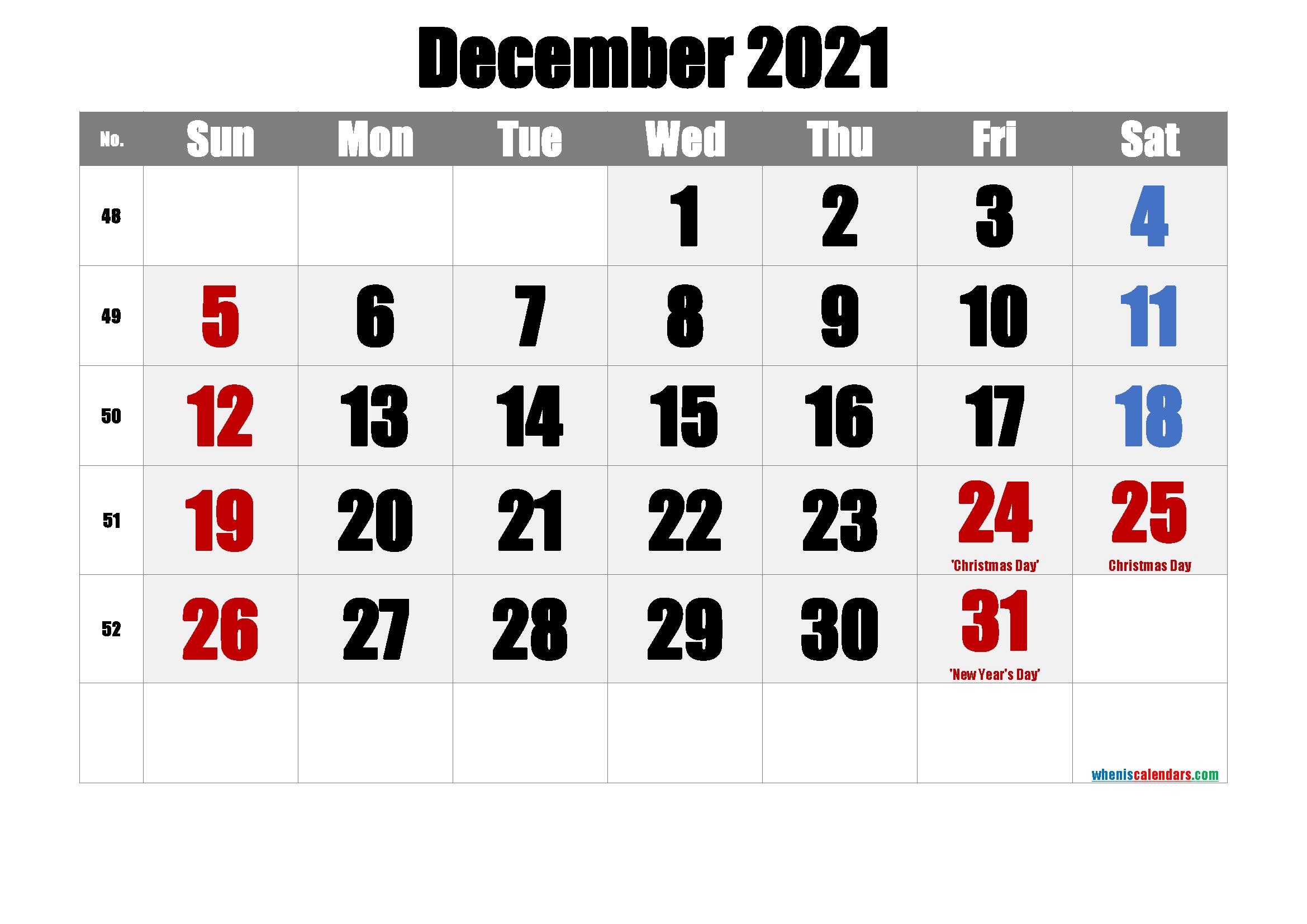 DECEMBER 2021 Printable Calendar with Holidays