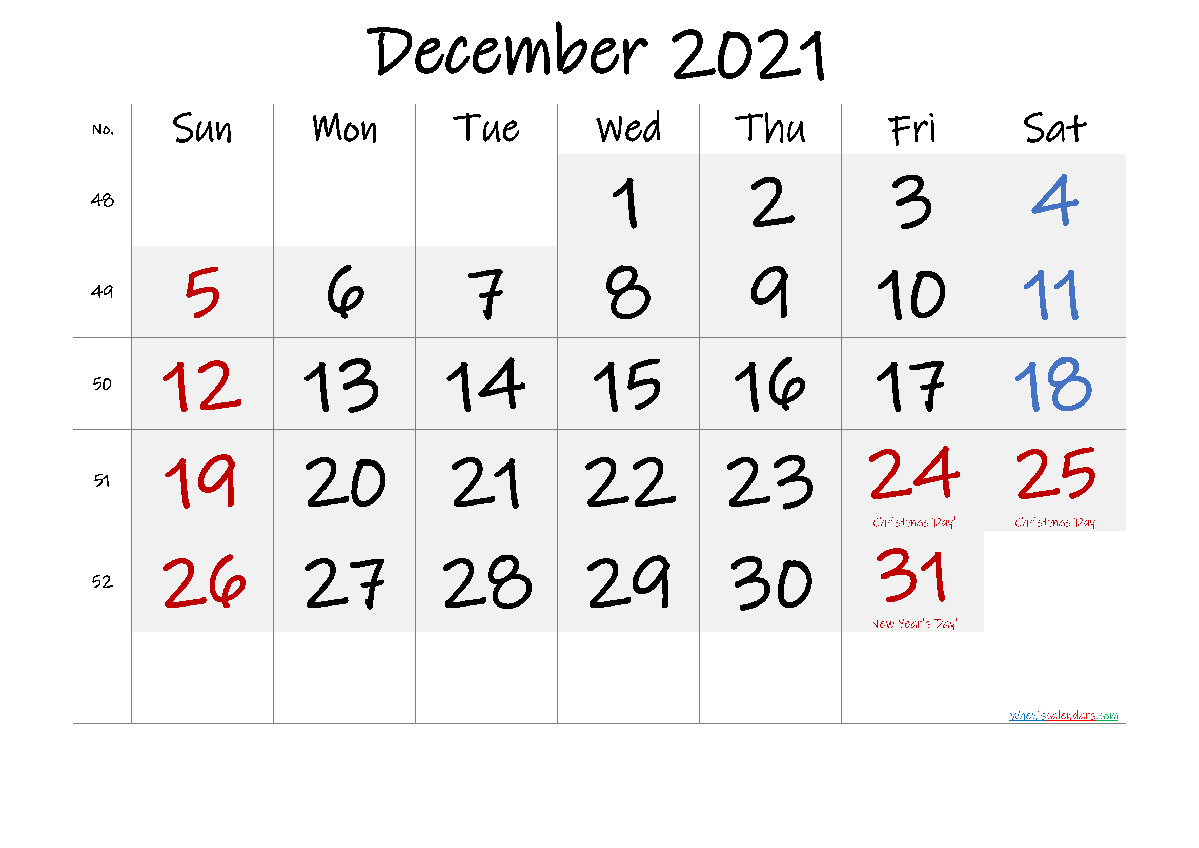 Free December 2021 Monthly Calendar PDF-Template No ...