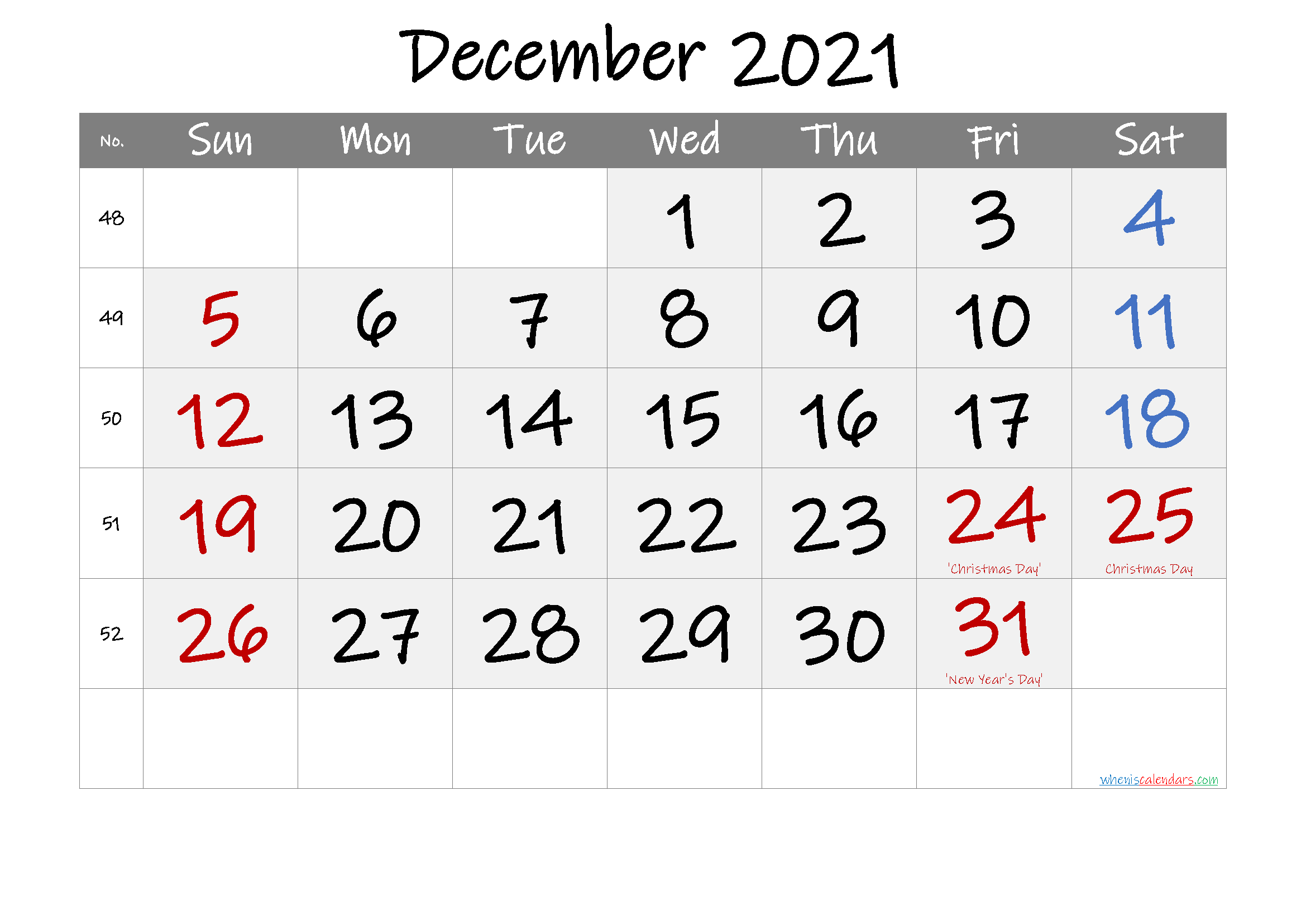 Printable DECEMBER 2021 Calendar with Holidays