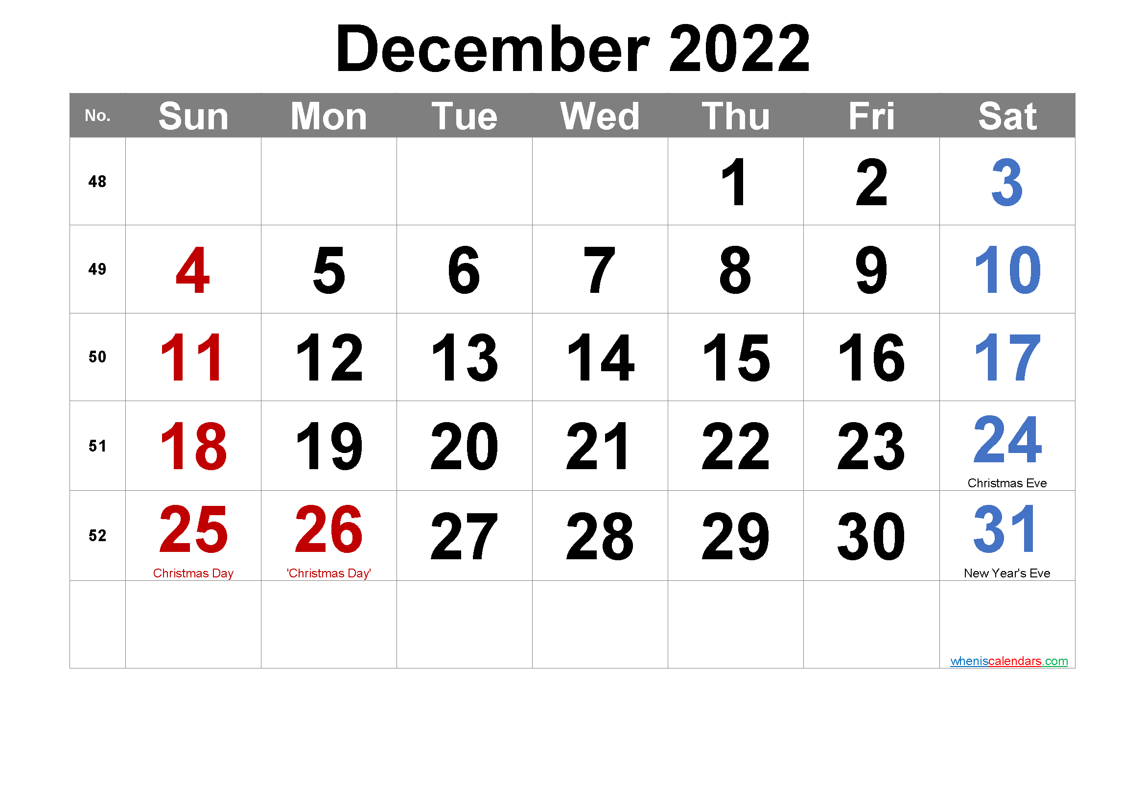Editable December 2022 Calendar with Holidays