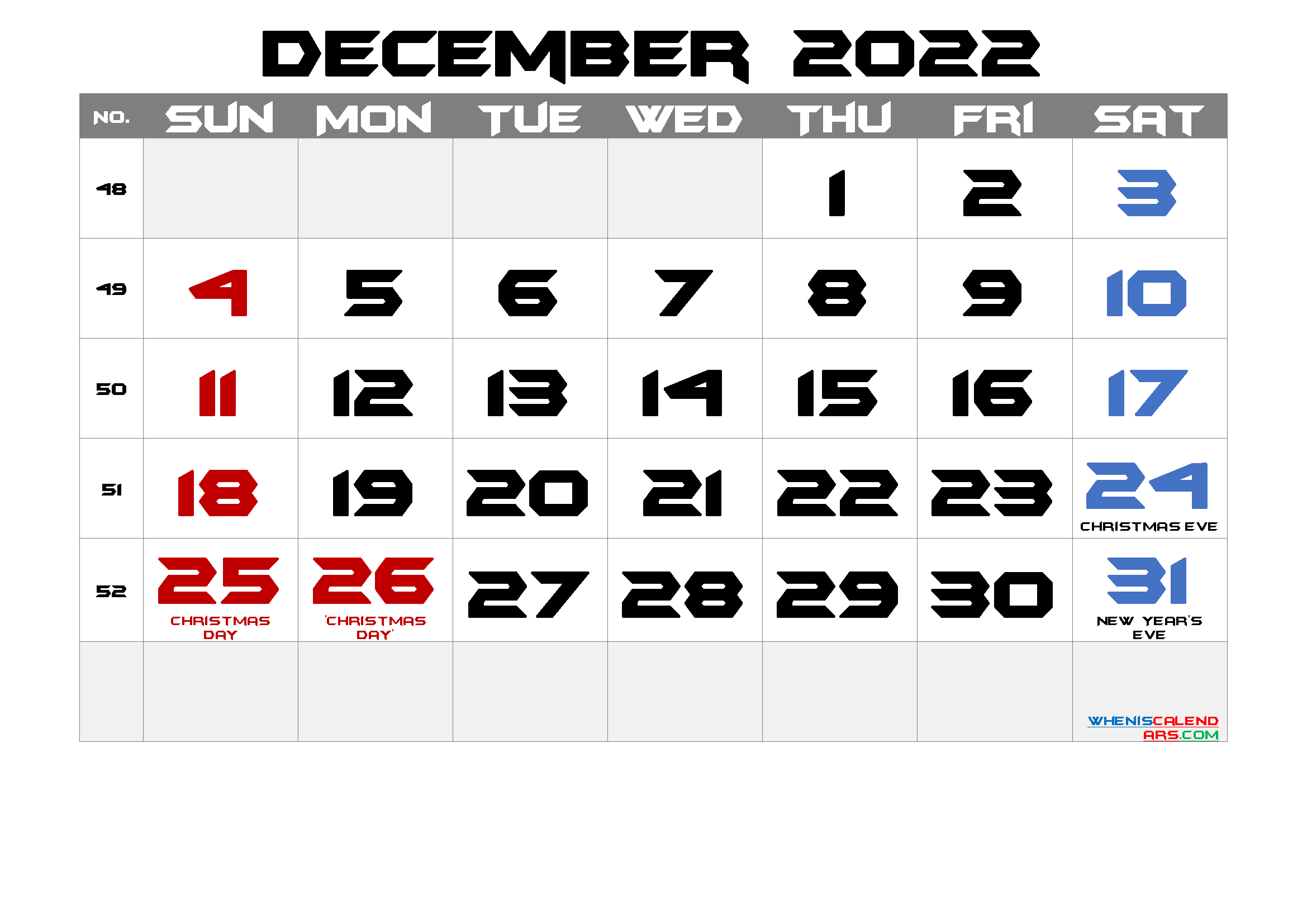 December 2022 Free Printable Calendar with Holidays