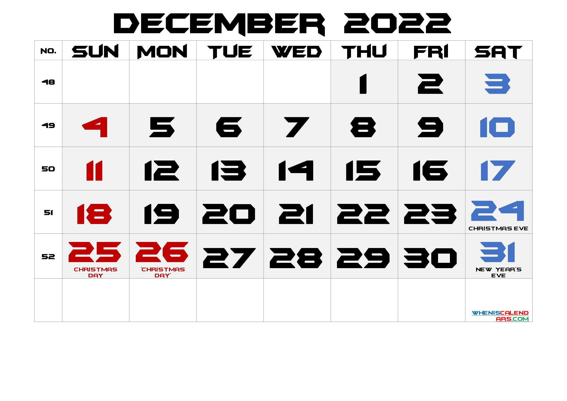 Free Printable December 2022 Calendar with Holidays