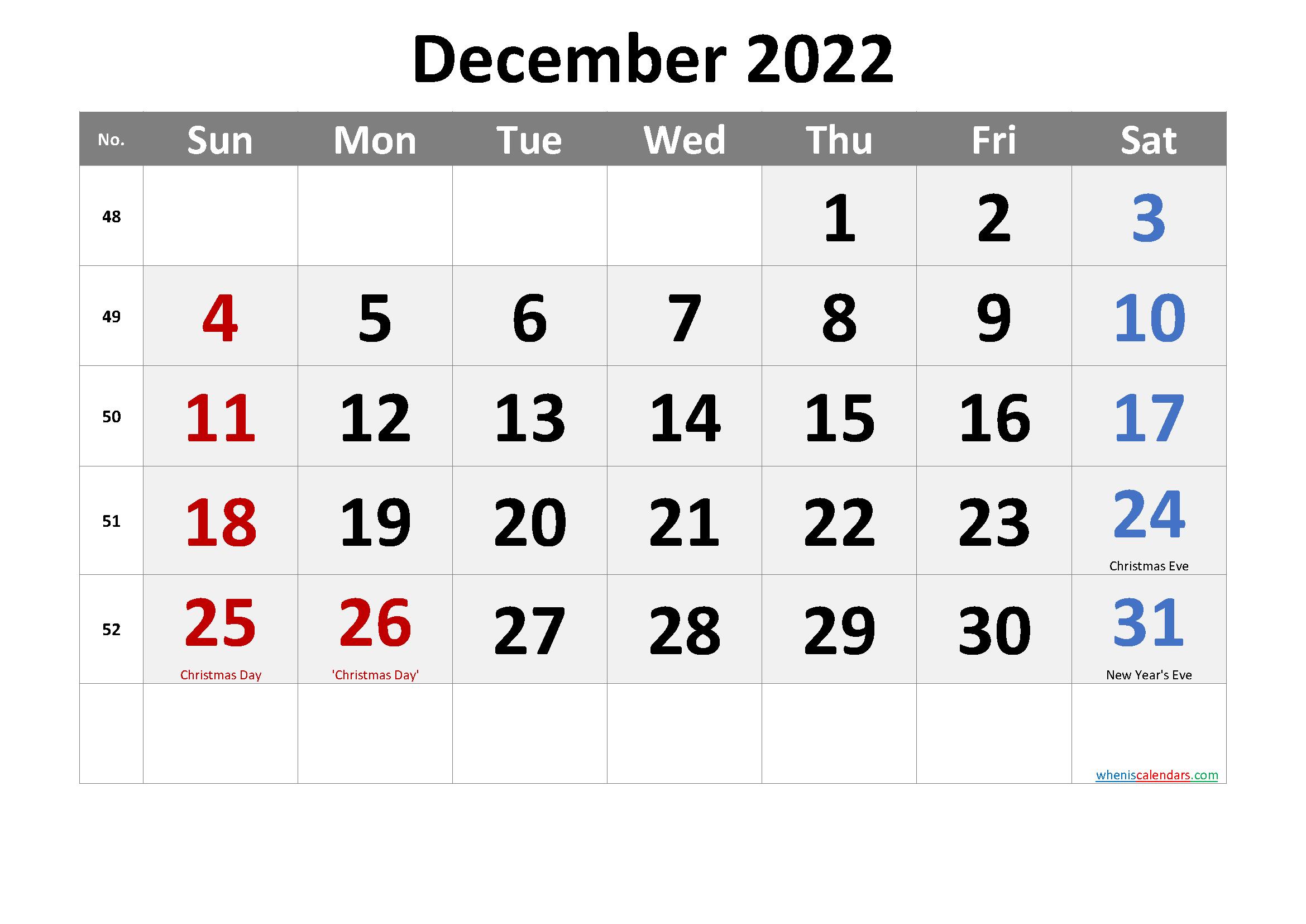DECEMBER 2022 Printable Calendar with Holidays