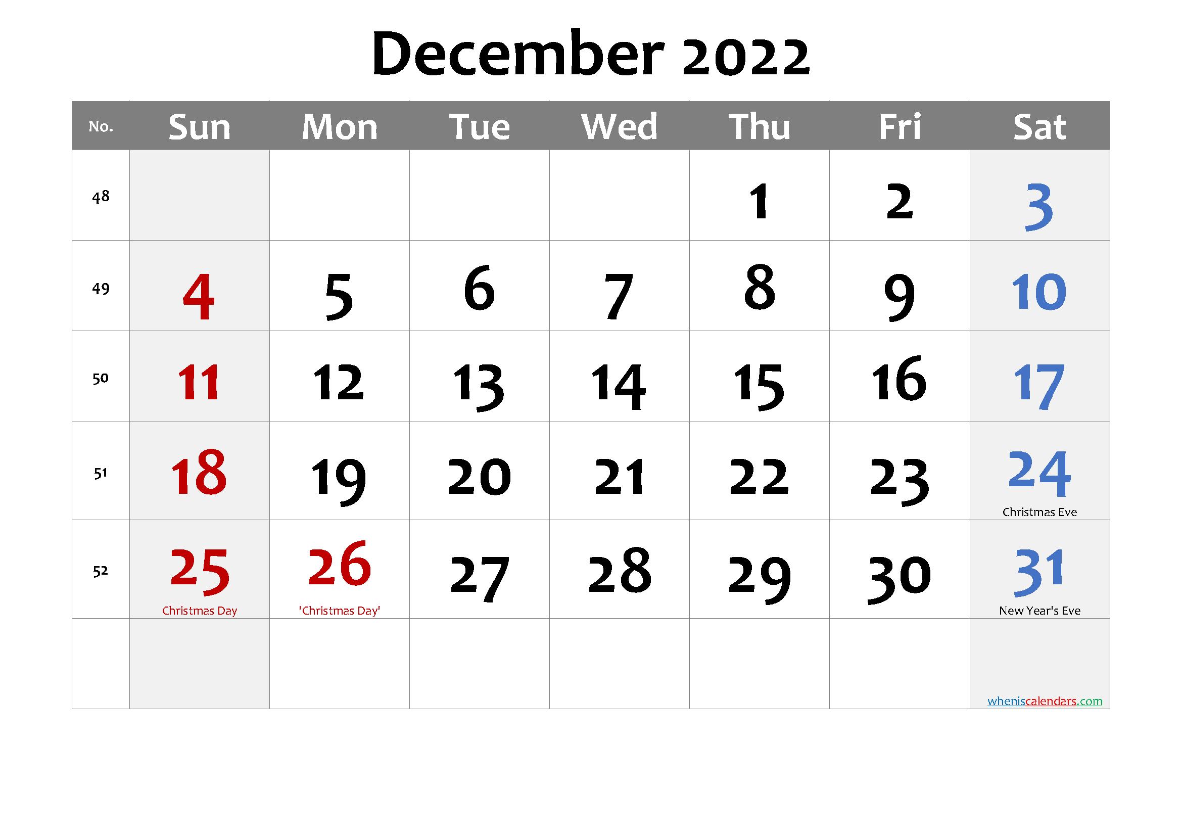 Editable December 2022 Calendar