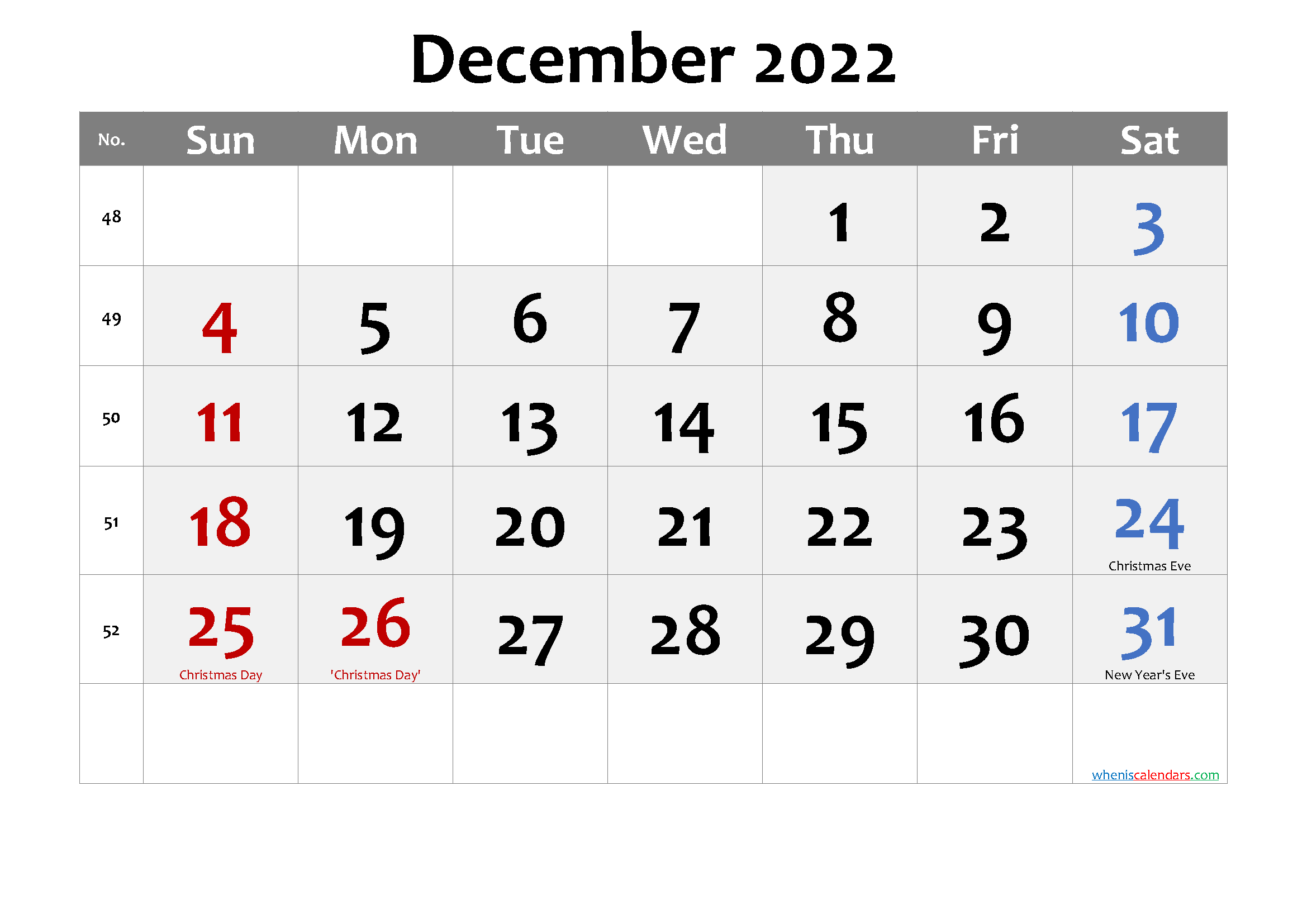 December 2022 Calendar with Holidays Printable