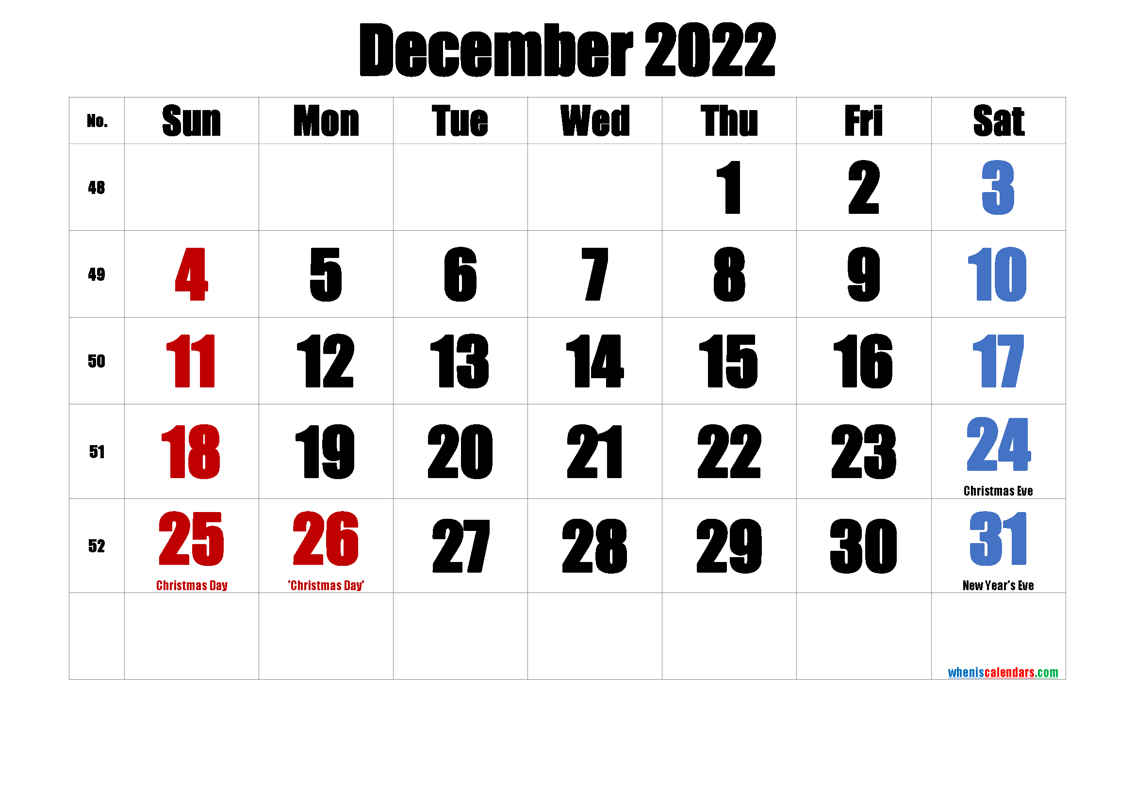 Printable December 2022 Calendar with Holidays