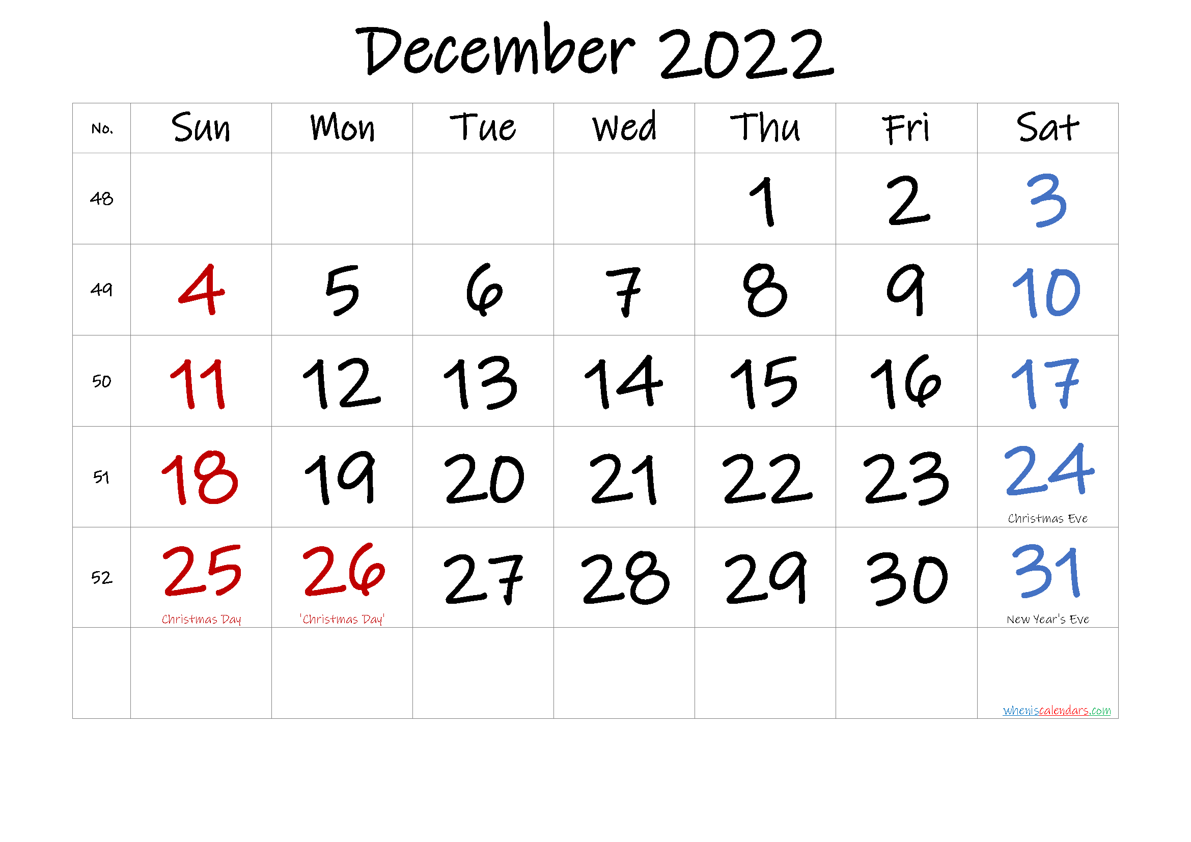 DECEMBER 2022 Printable Calendar with Holidays