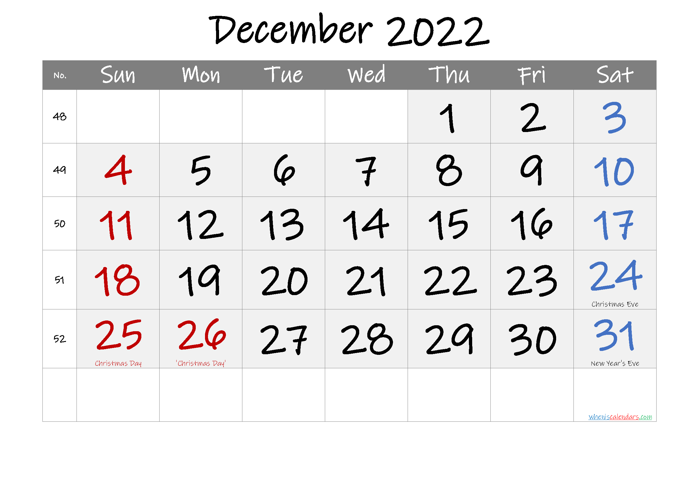 Printable December 2022 Calendar with Holidays