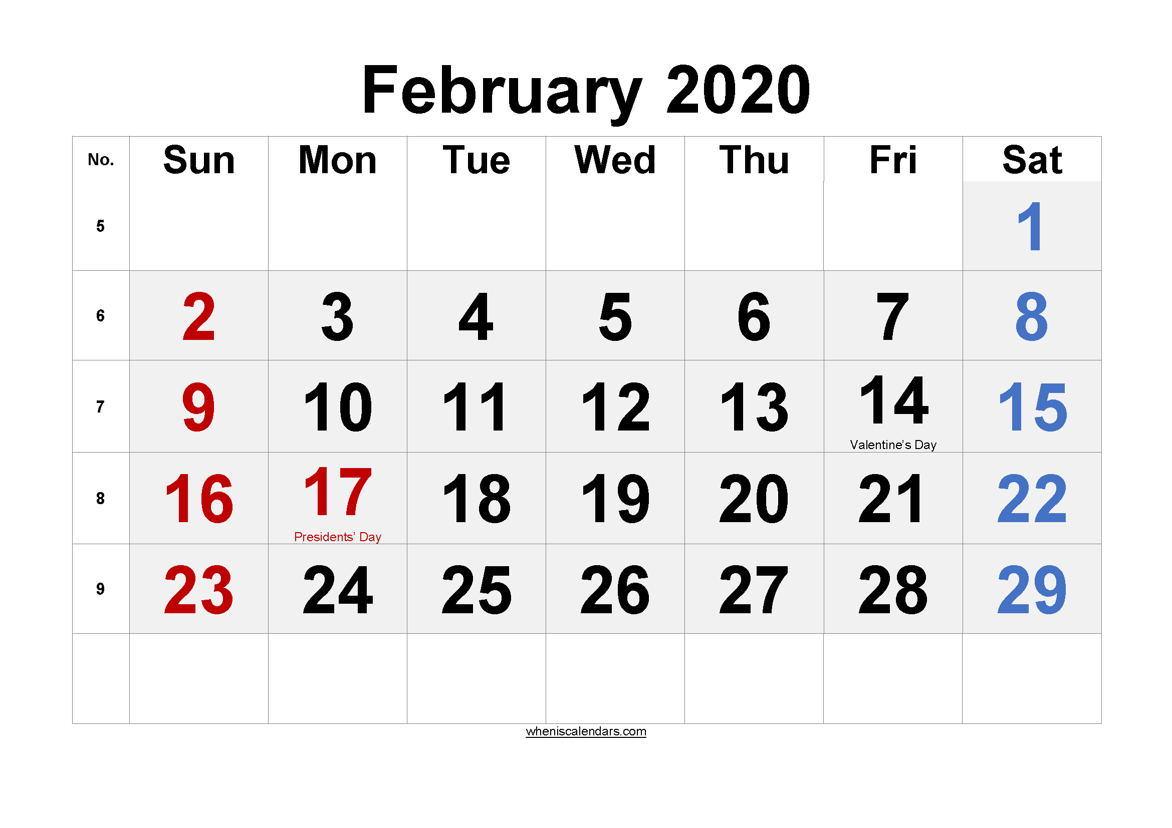 Printable February 2020 Calendar with Holidays