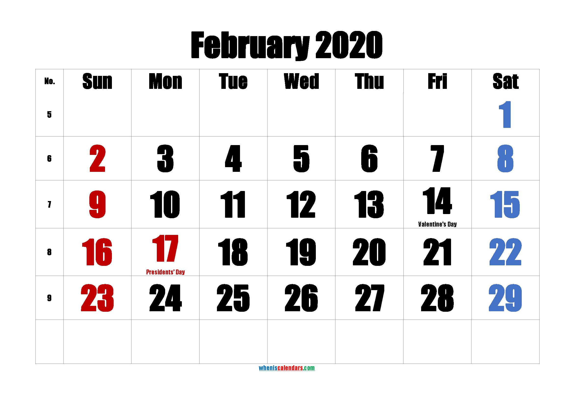 Printable FEBRUARY 2020 Calendar with Holidays