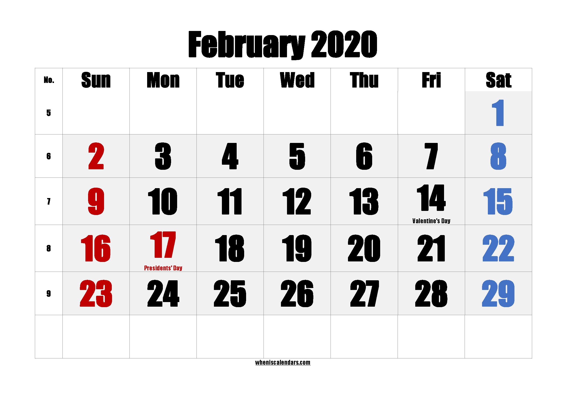 Free FEBRUARY 2020 Calendar Printable