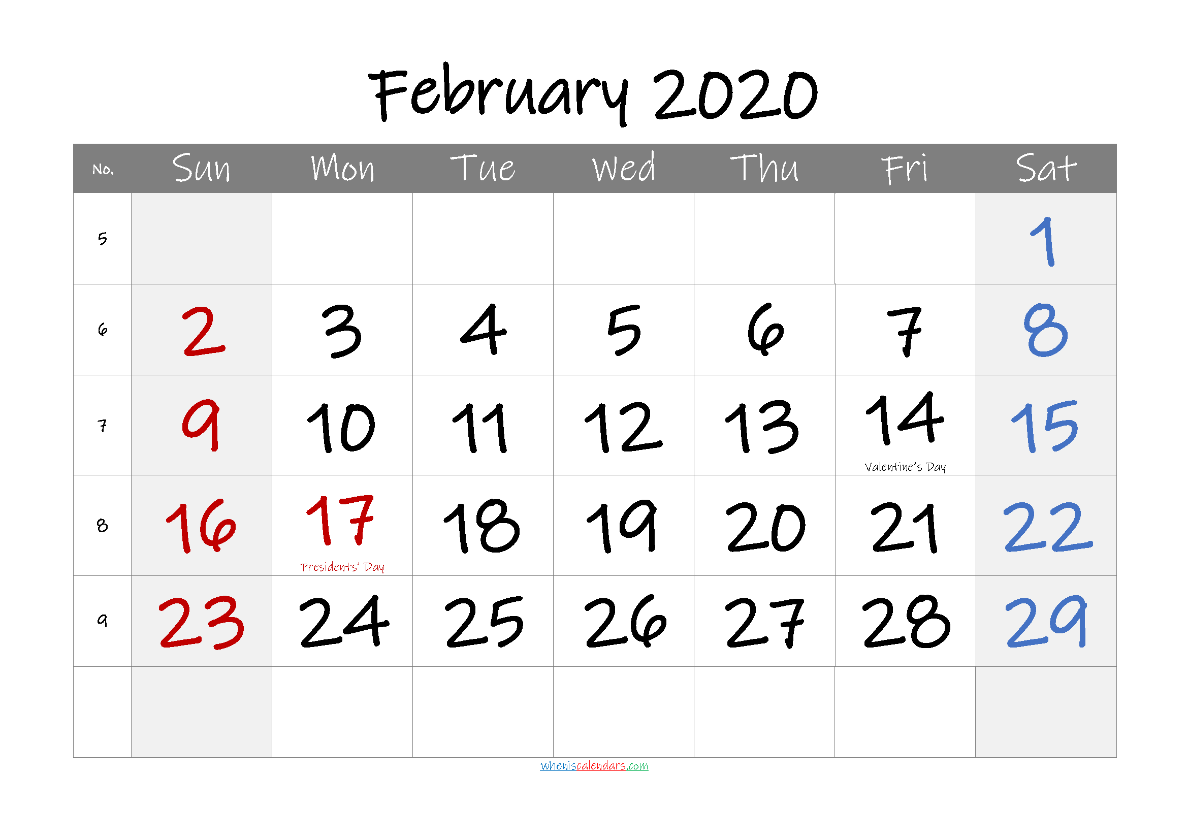 February 2020 Free Printable Calendar with Holidays