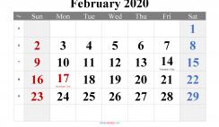February 2020 Printable Calendar with Holidays
