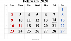 Printable February 2020 Calendar Word