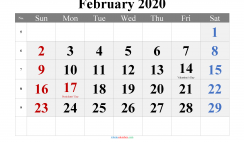 February 2020 Printable Calendar with Holidays