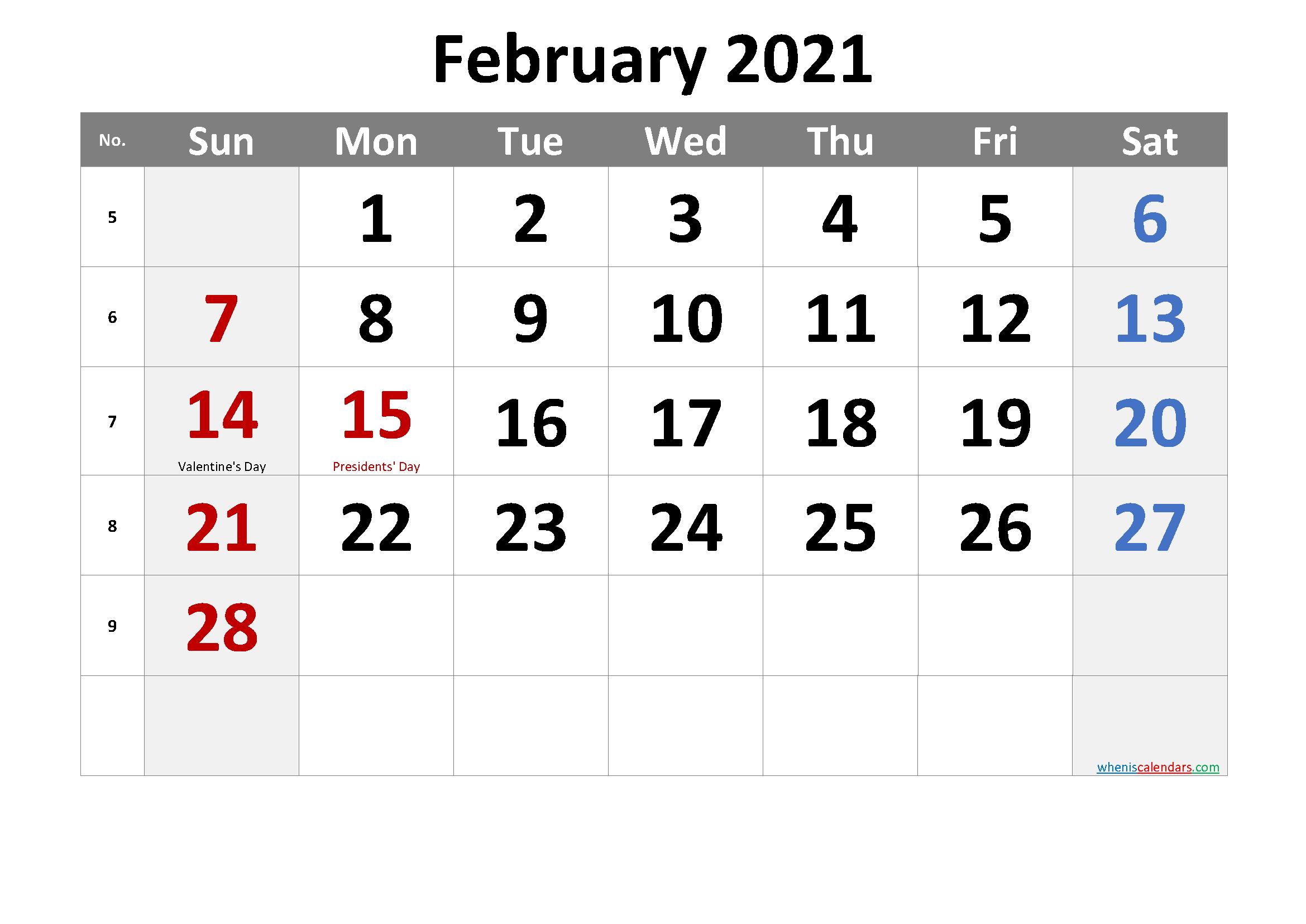 FEBRUARY 2021 Printable Calendar with Holidays