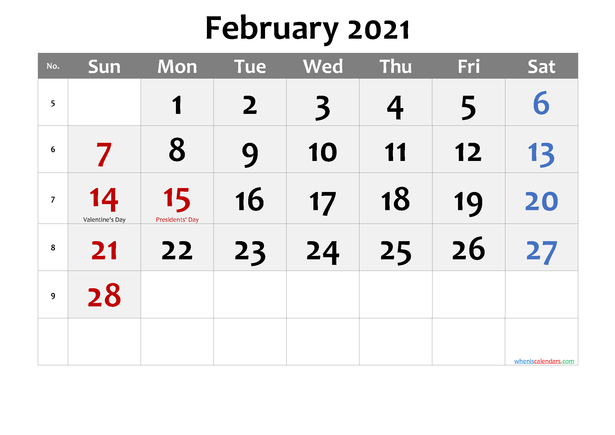 Printable FEBRUARY 2021 Calendar with Holidays