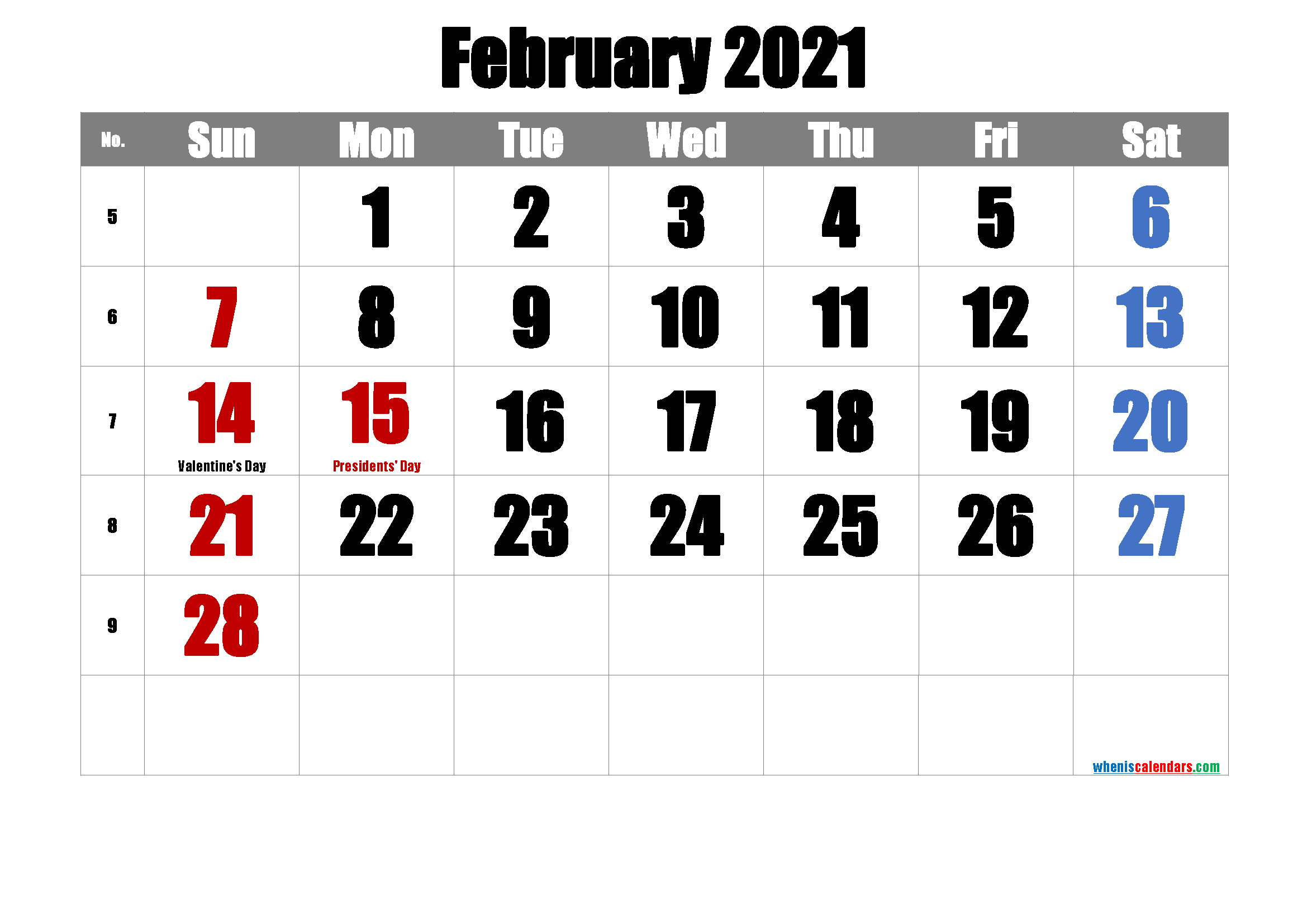 Printable February 2021 Calendar PDF