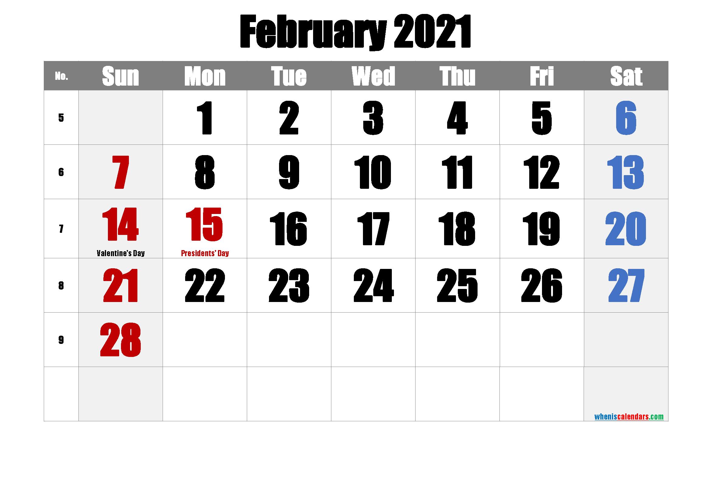 Printable Calendar February 2021