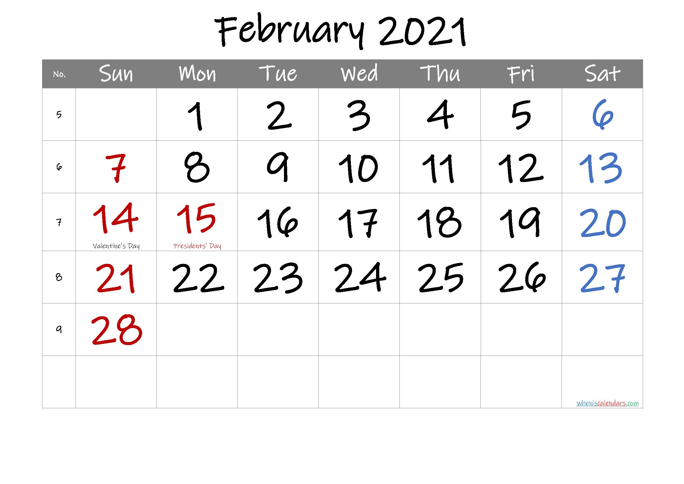 Free February 2021 Printable Calendar with Holidays