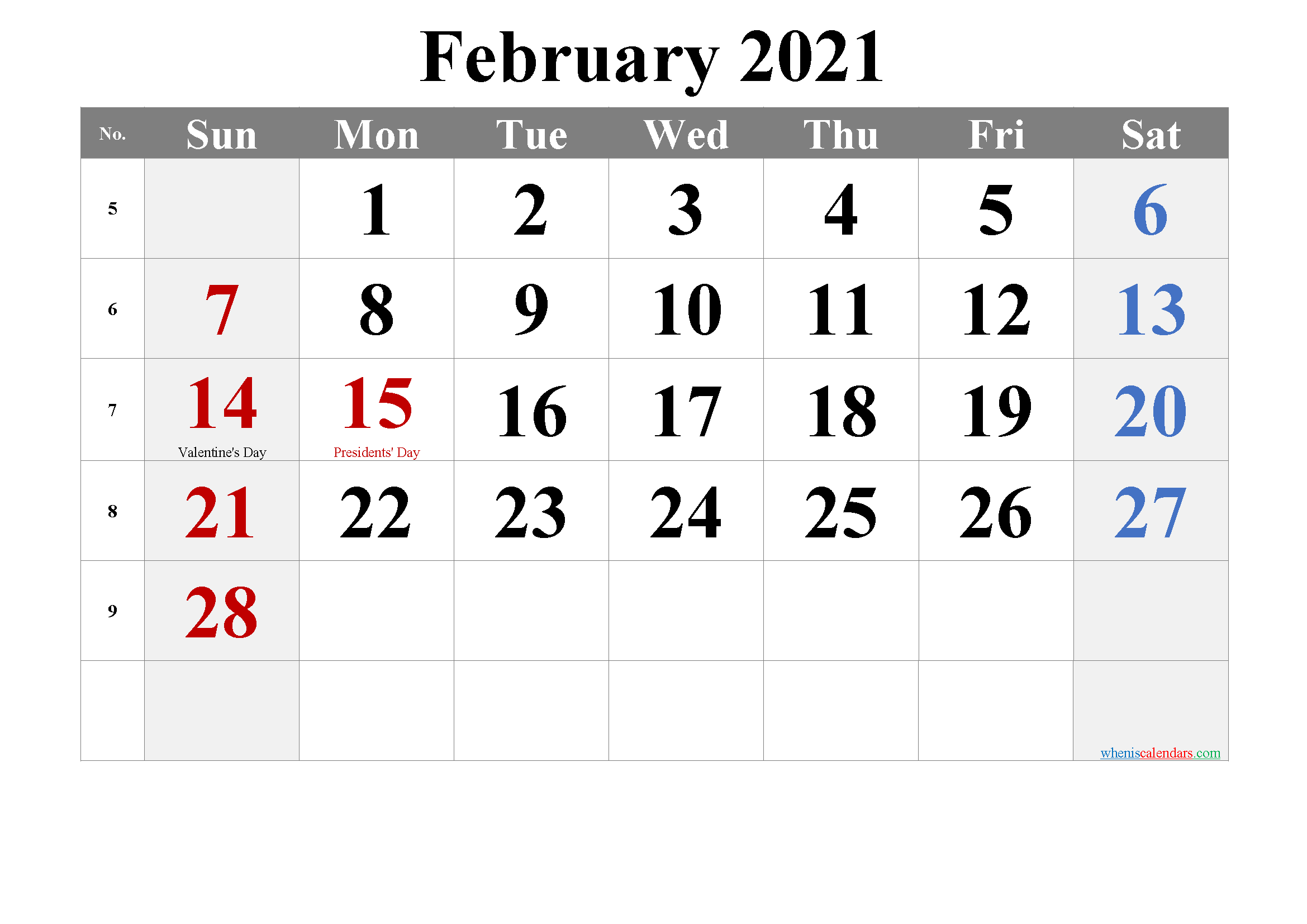 February 2021 Printable Calendar with Holidays