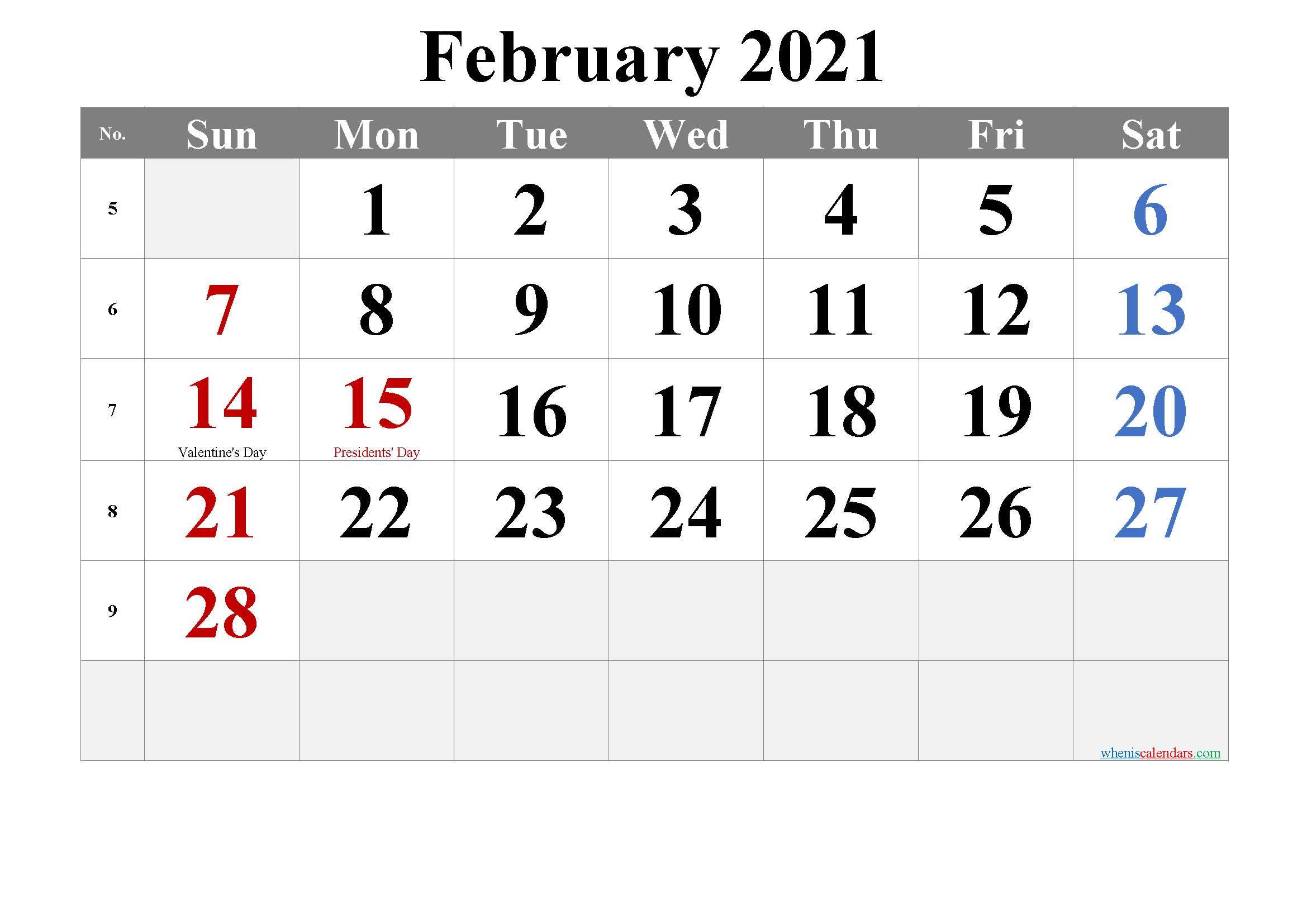 Free Printable February 2021 Calendar with Holidays