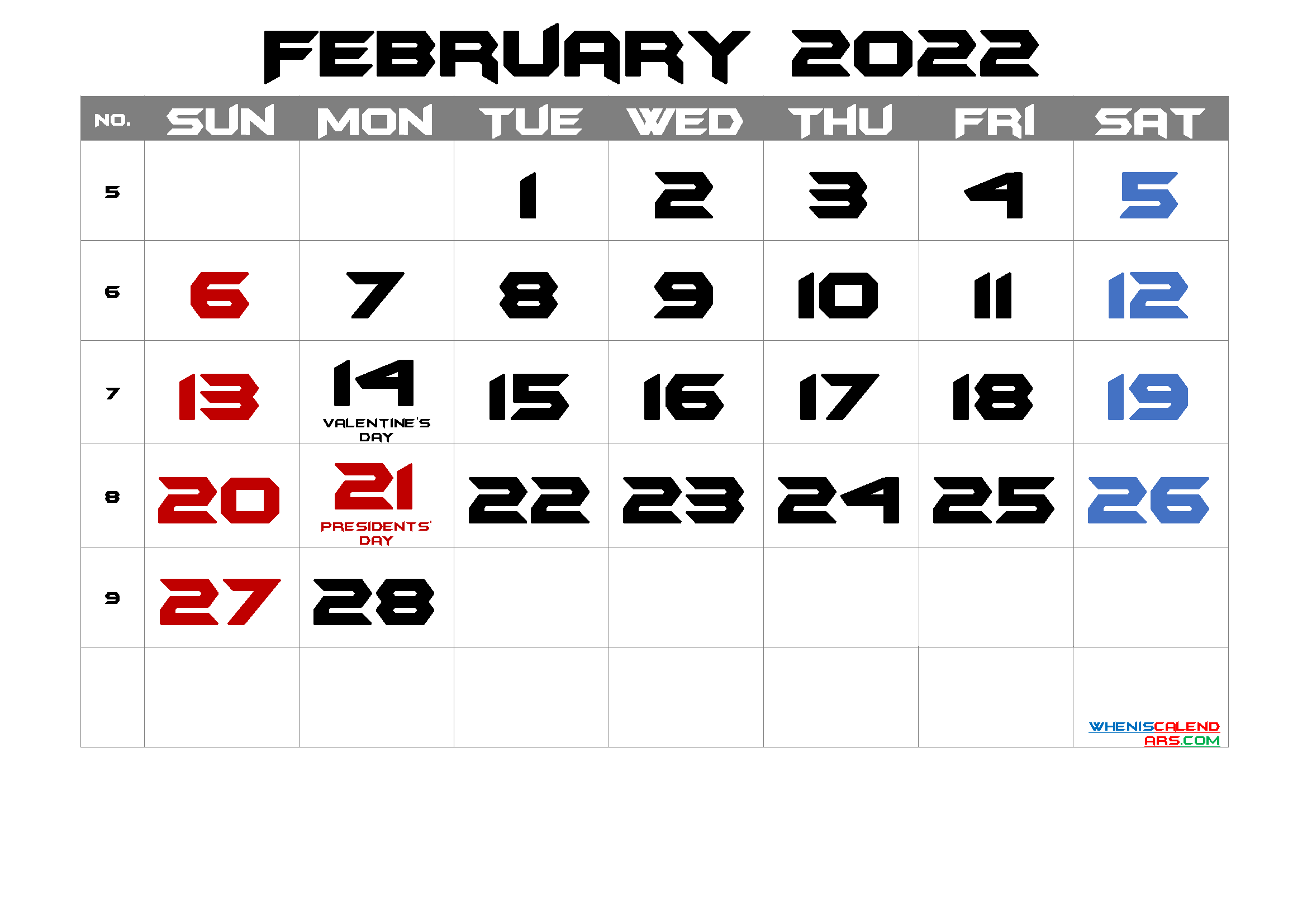 Free Printable February 2022 Calendar with Holidays