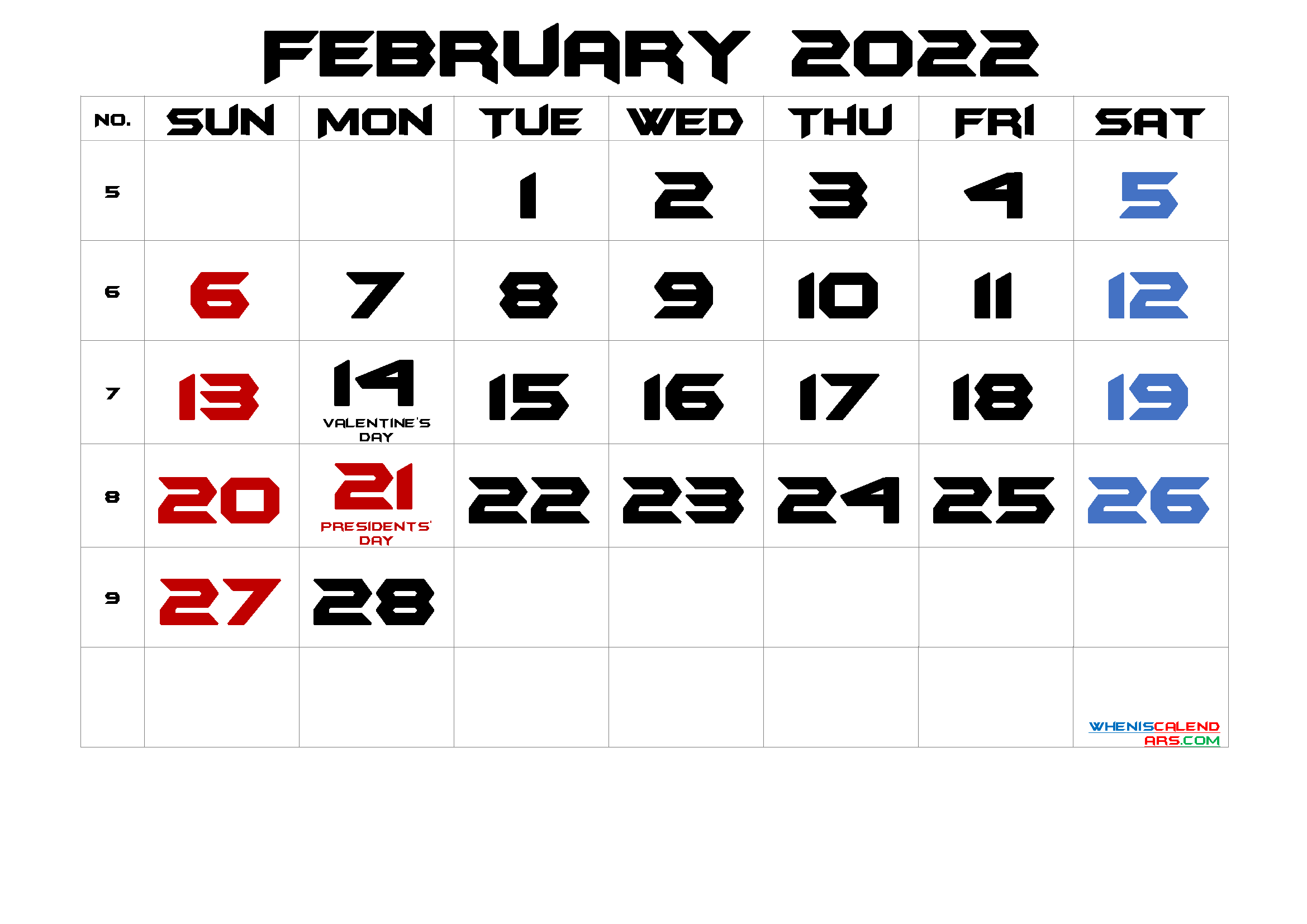 FEBRUARY 2022 Printable Calendar with Holidays