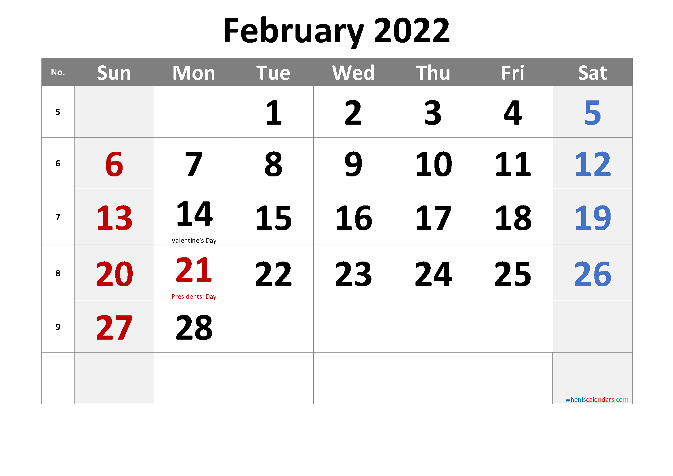 Free February 2022 Monthly Calendar Template Word
