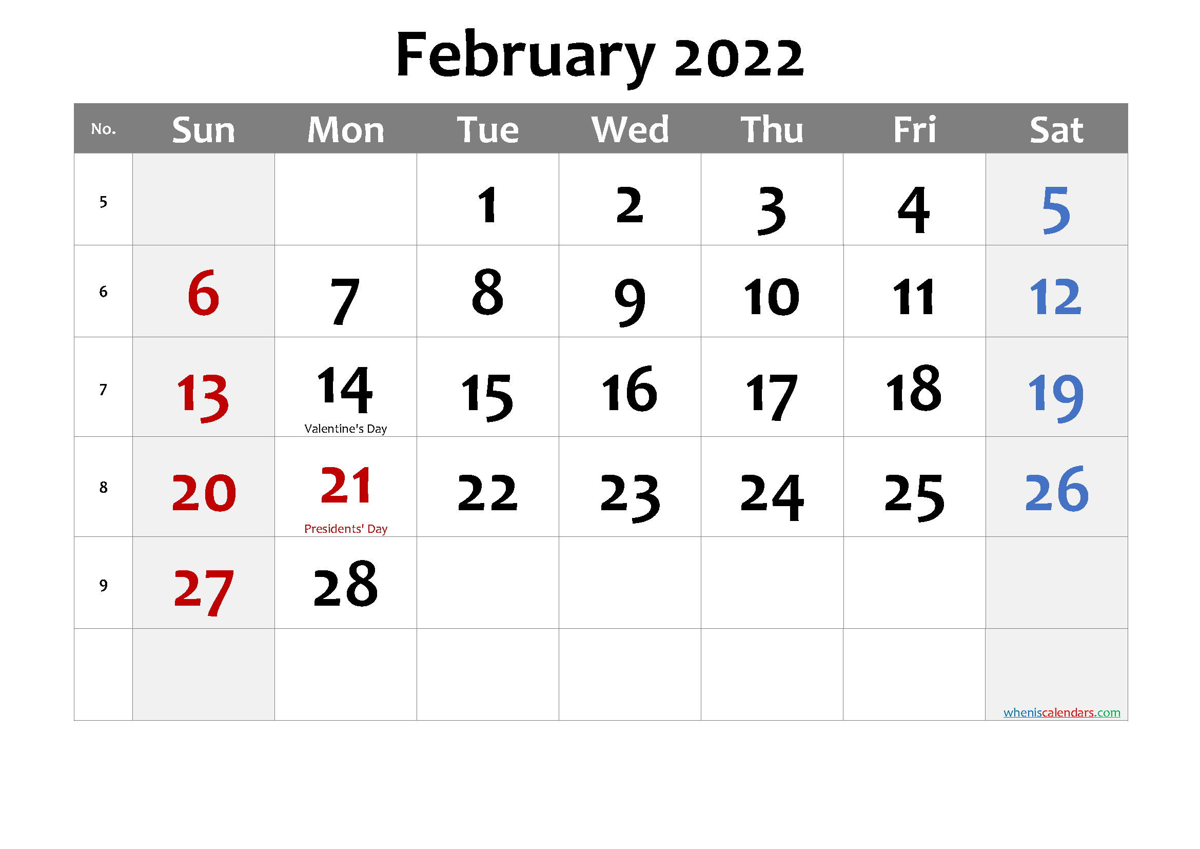 Printable FEBRUARY 2022 Calendar with Holidays