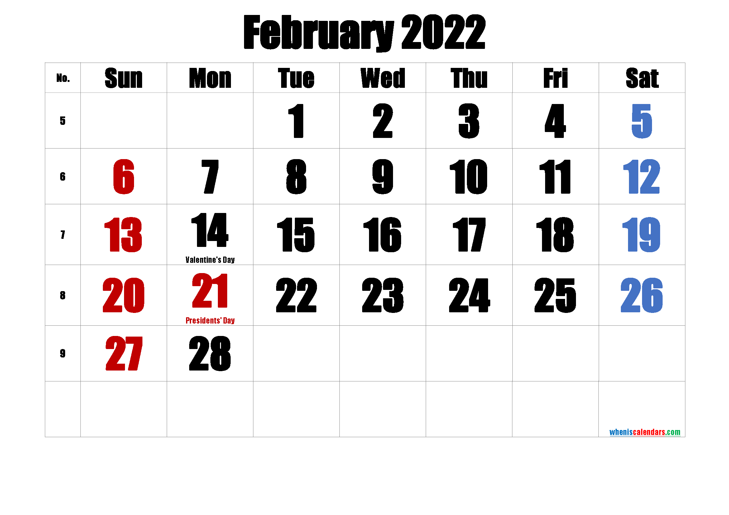 Printable FEBRUARY 2022 Calendar with Holidays