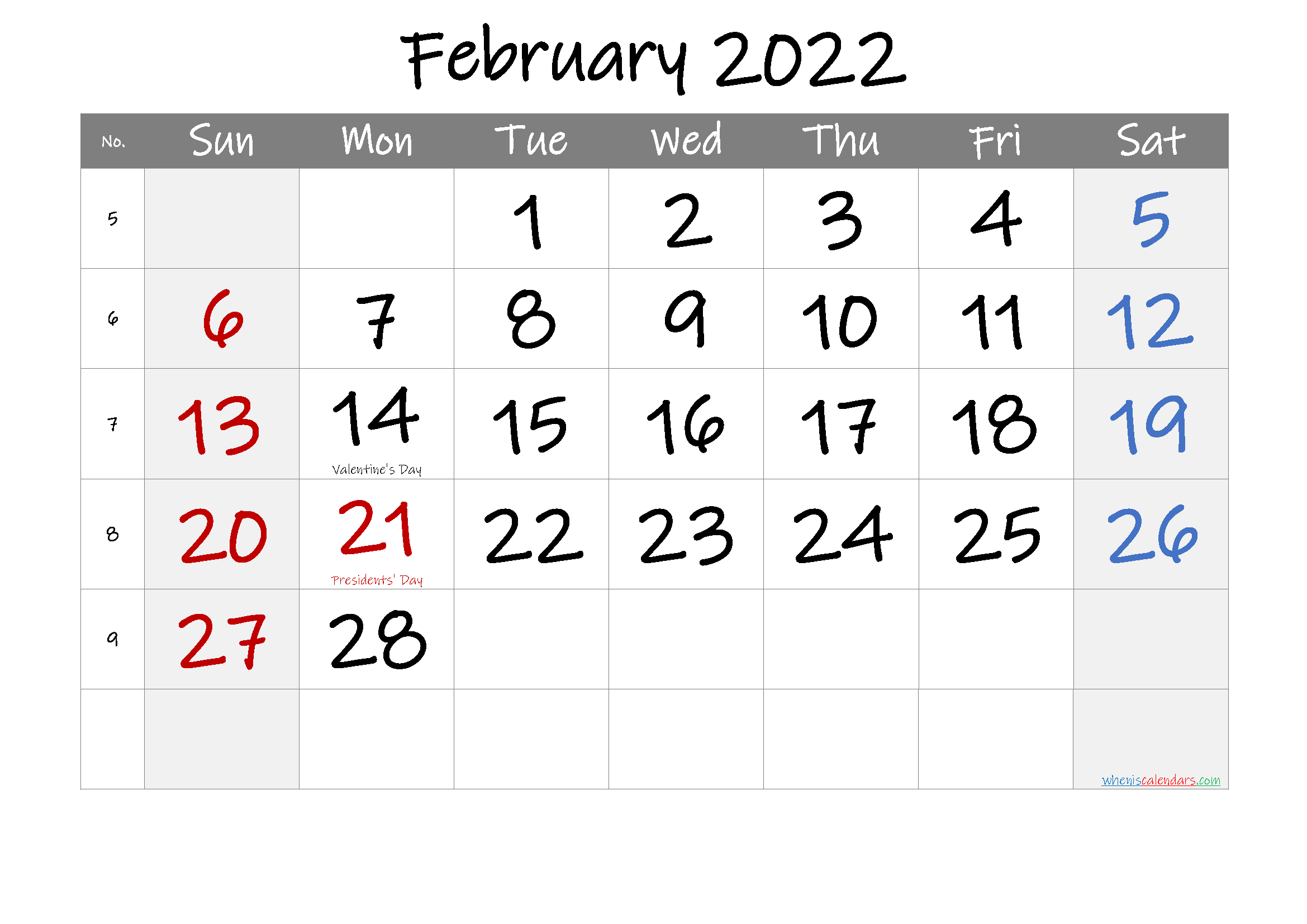 February 2022 Free Printable Calendar with Holidays