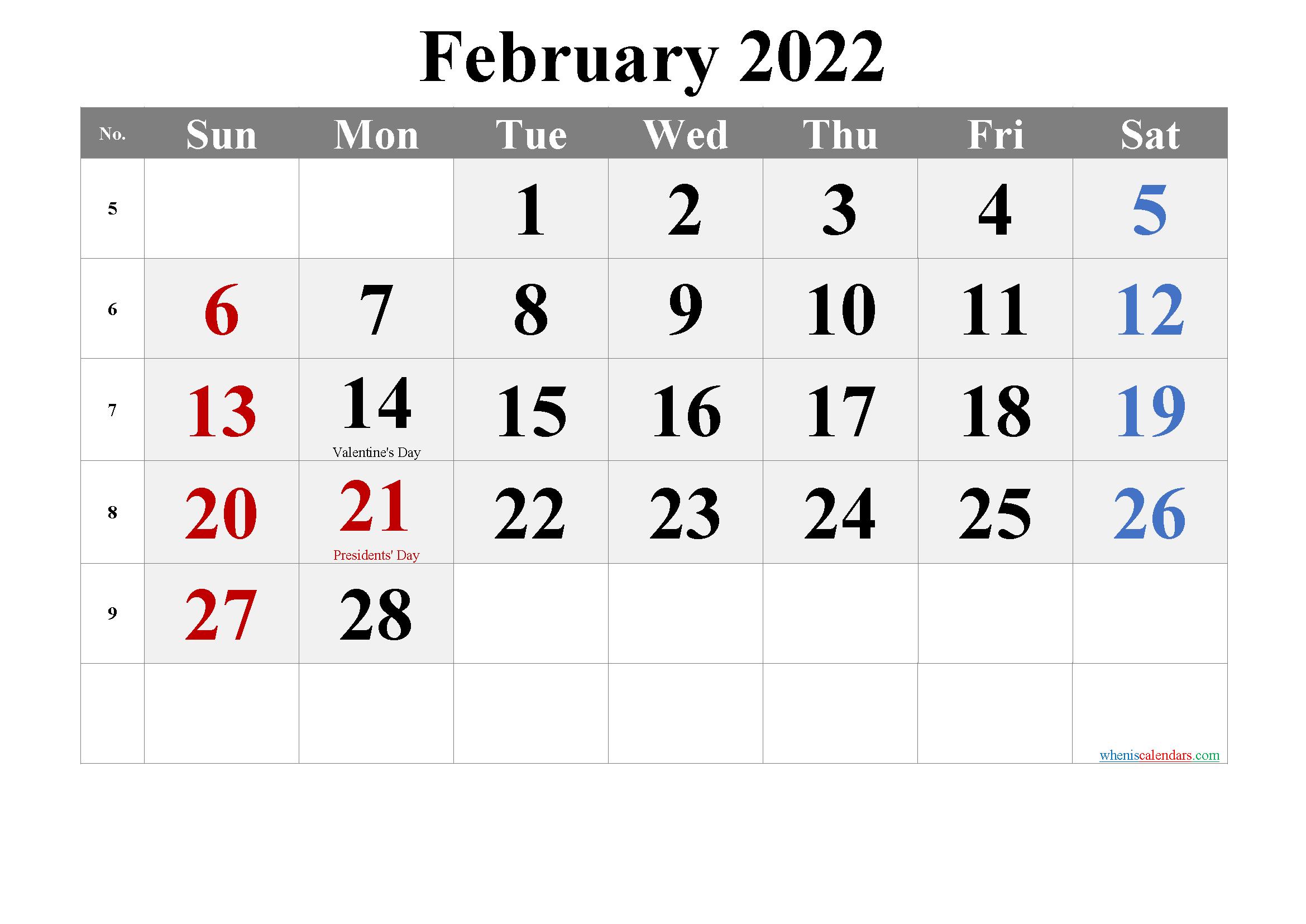 FEBRUARY 2022 Printable Calendar with Holidays
