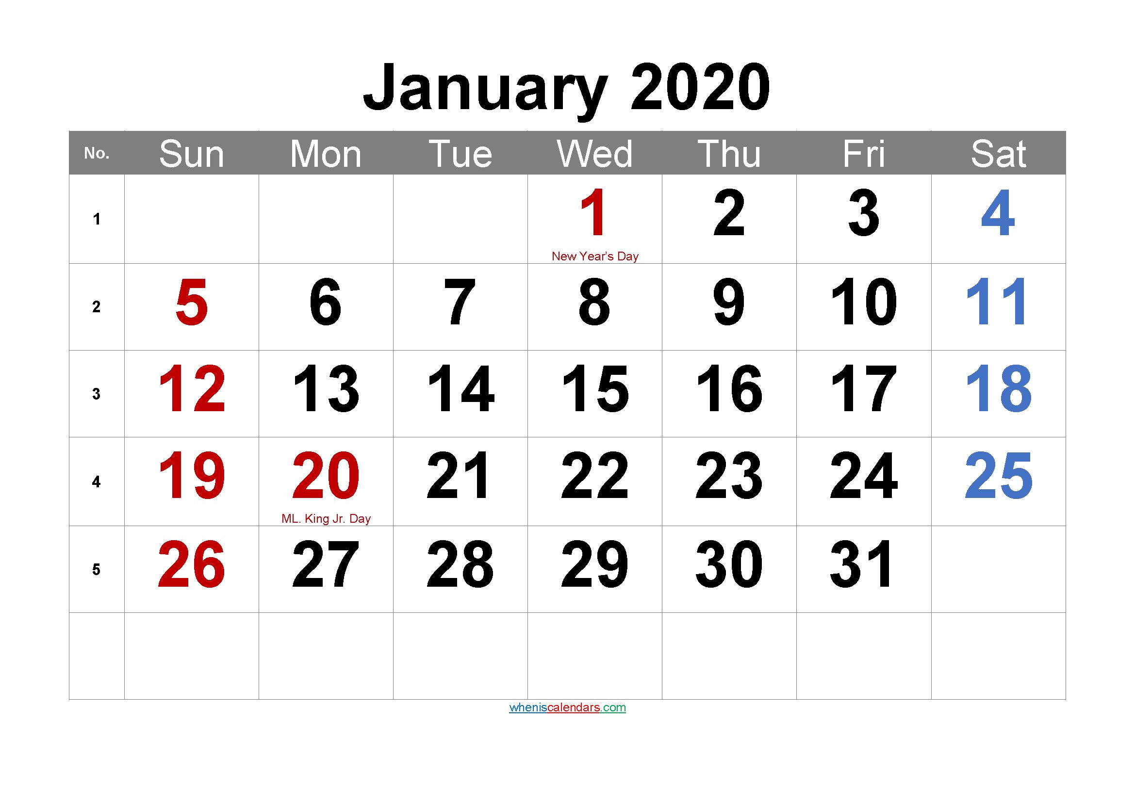 Printable JANUARY 2020 Calendar with Holidays