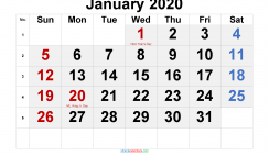 Printable January 2020 Calendar with Holidays