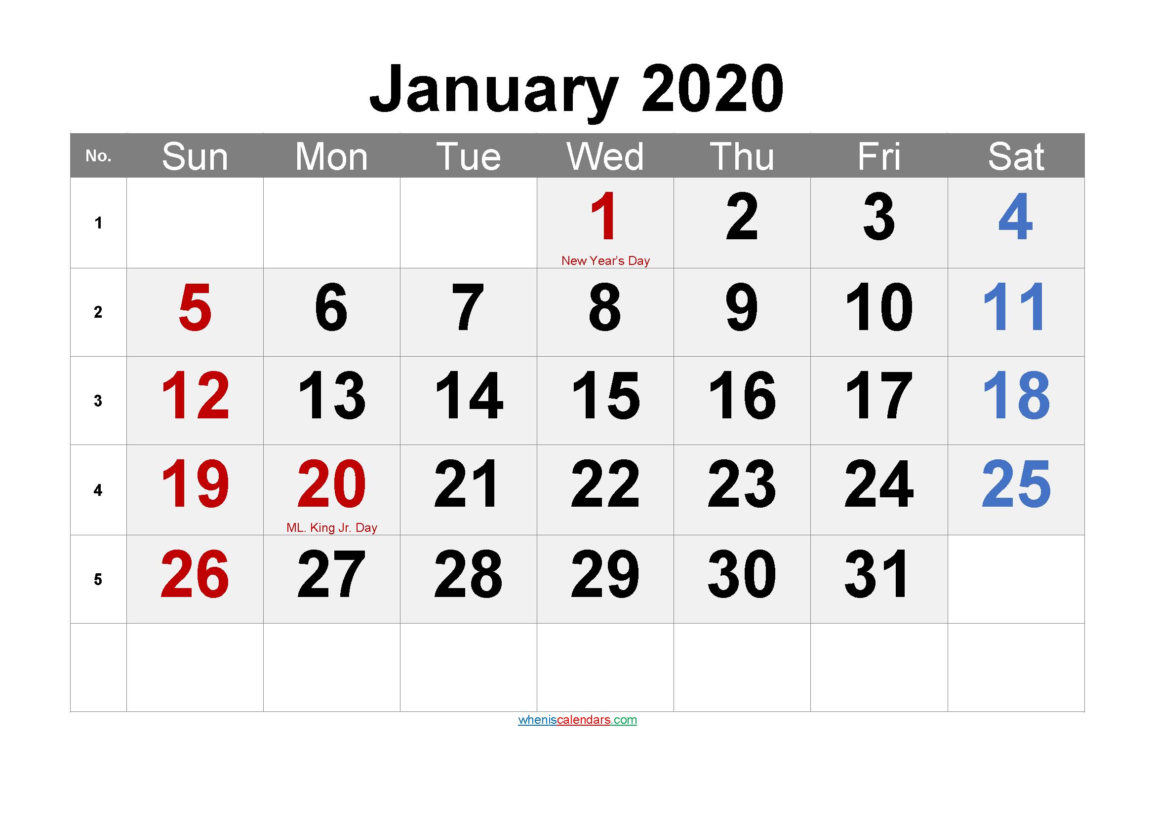 Printable January 2020 Calendar PDF