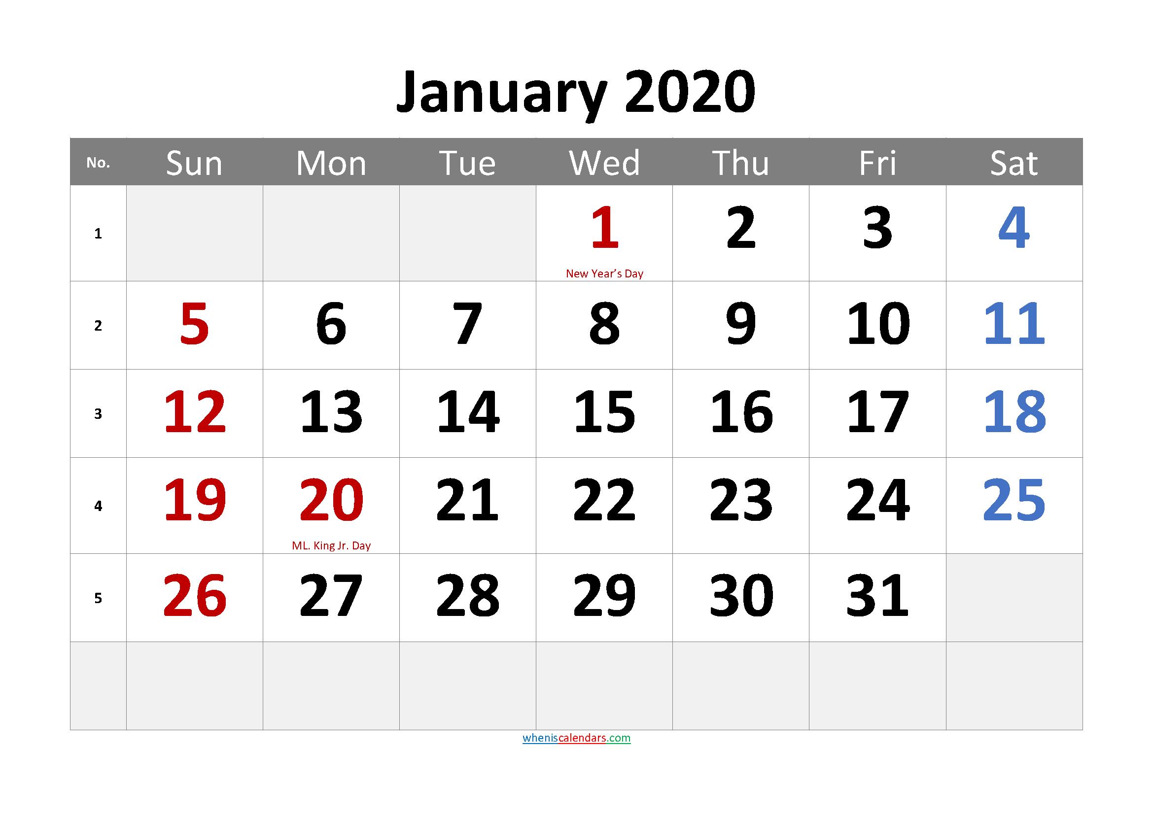 Free Printable JANUARY 2020 Calendar with Holidays