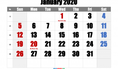 January 2020 Printable Calendar with Holidays
