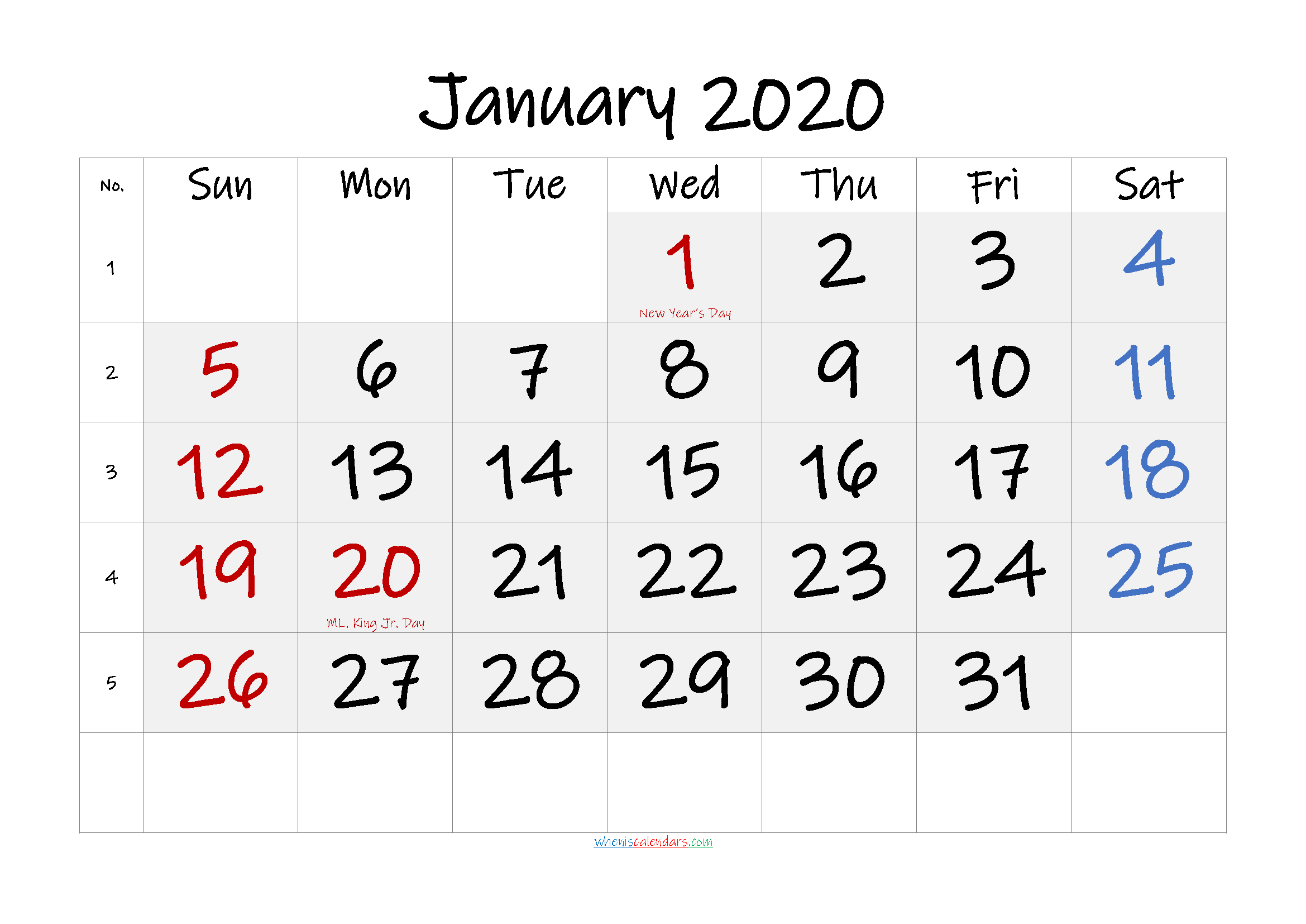 Free January 2020 Monthly Calendar PDF