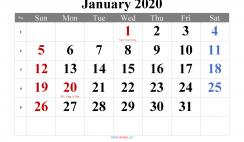 Free January 2020 Calendar Printable