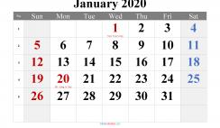 January 2020 Printable Calendar with Holidays