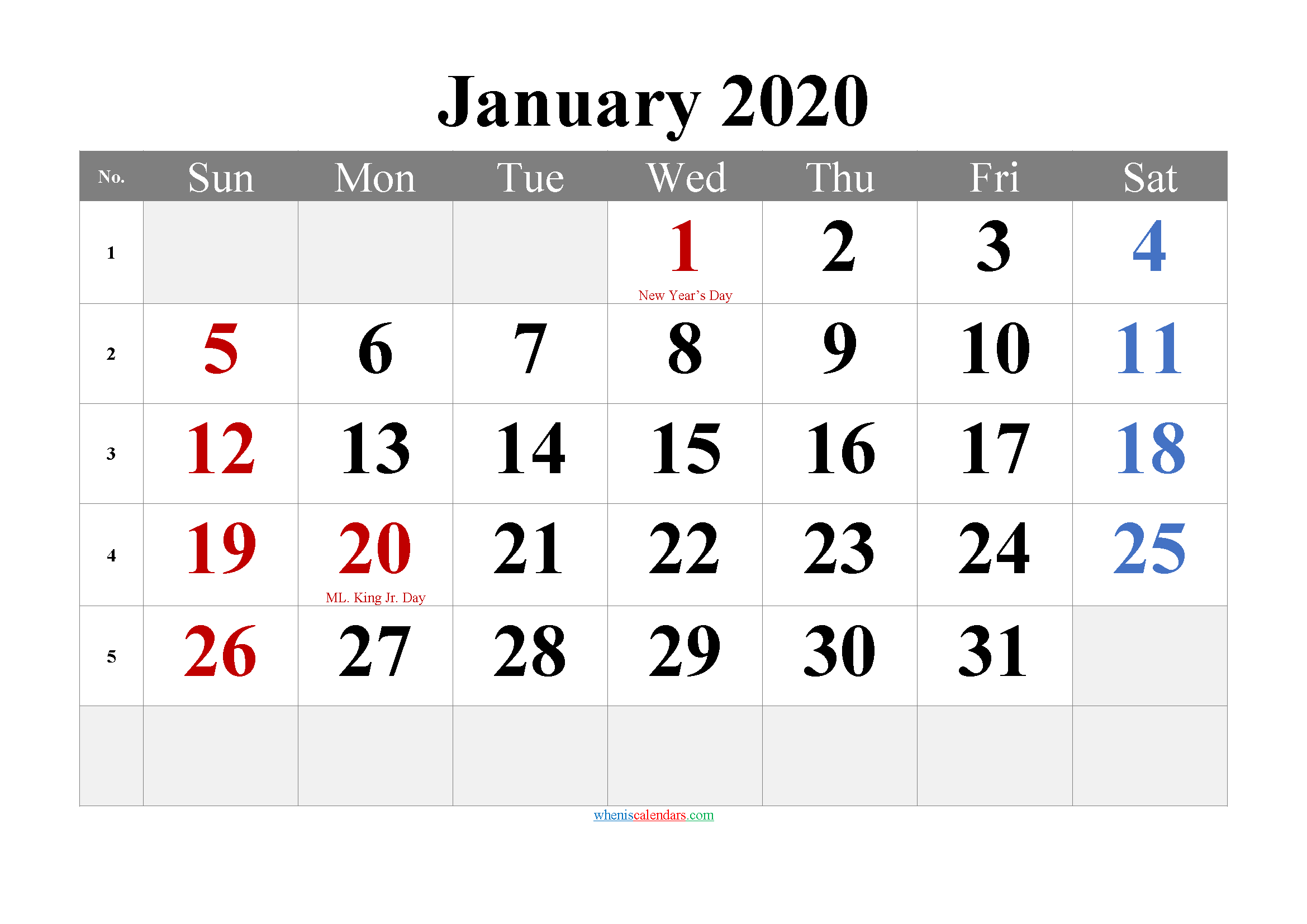Free Printable January 2020 Calendar with Holidays
