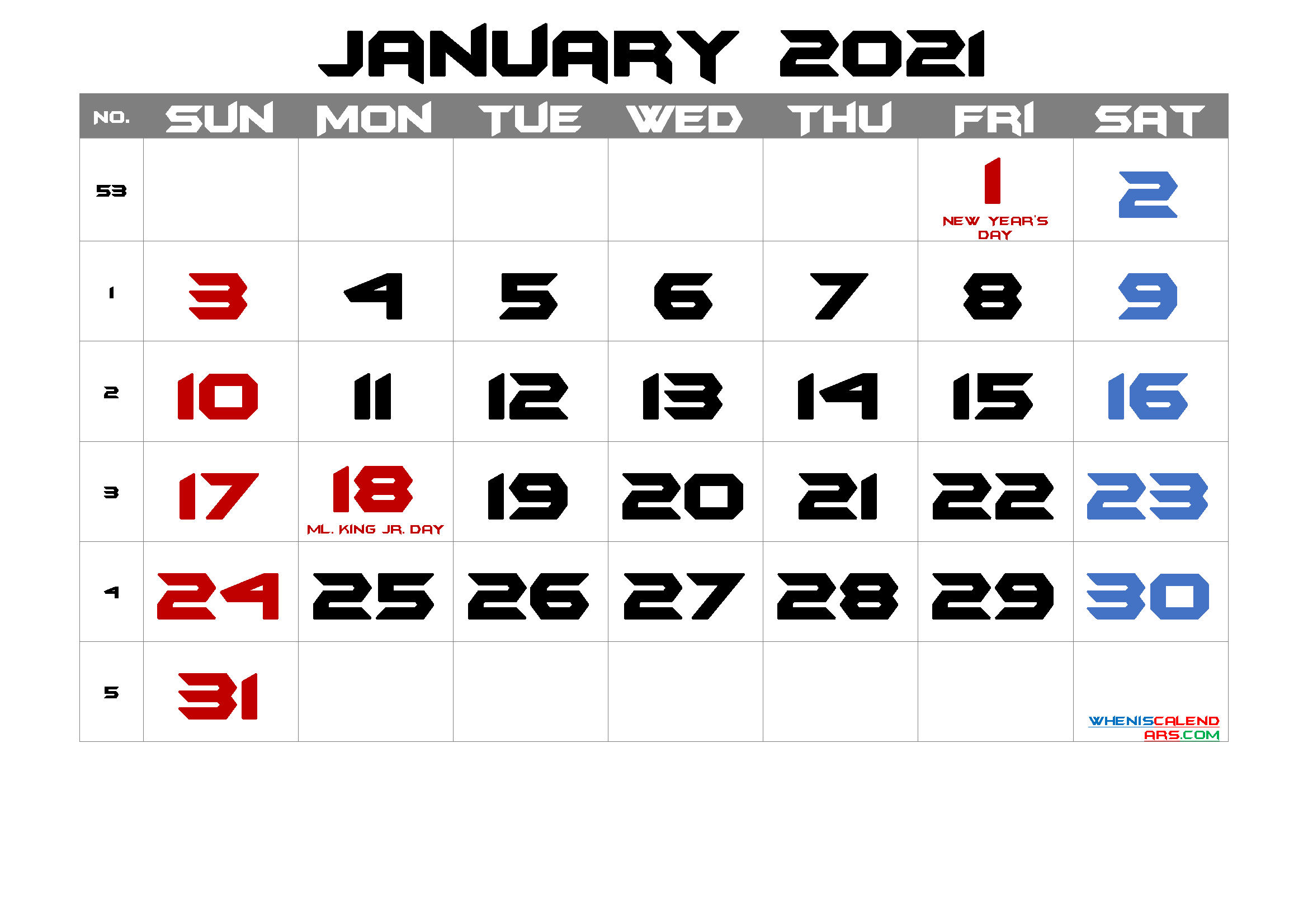 Free Printable January 2021 Calendar with Holidays