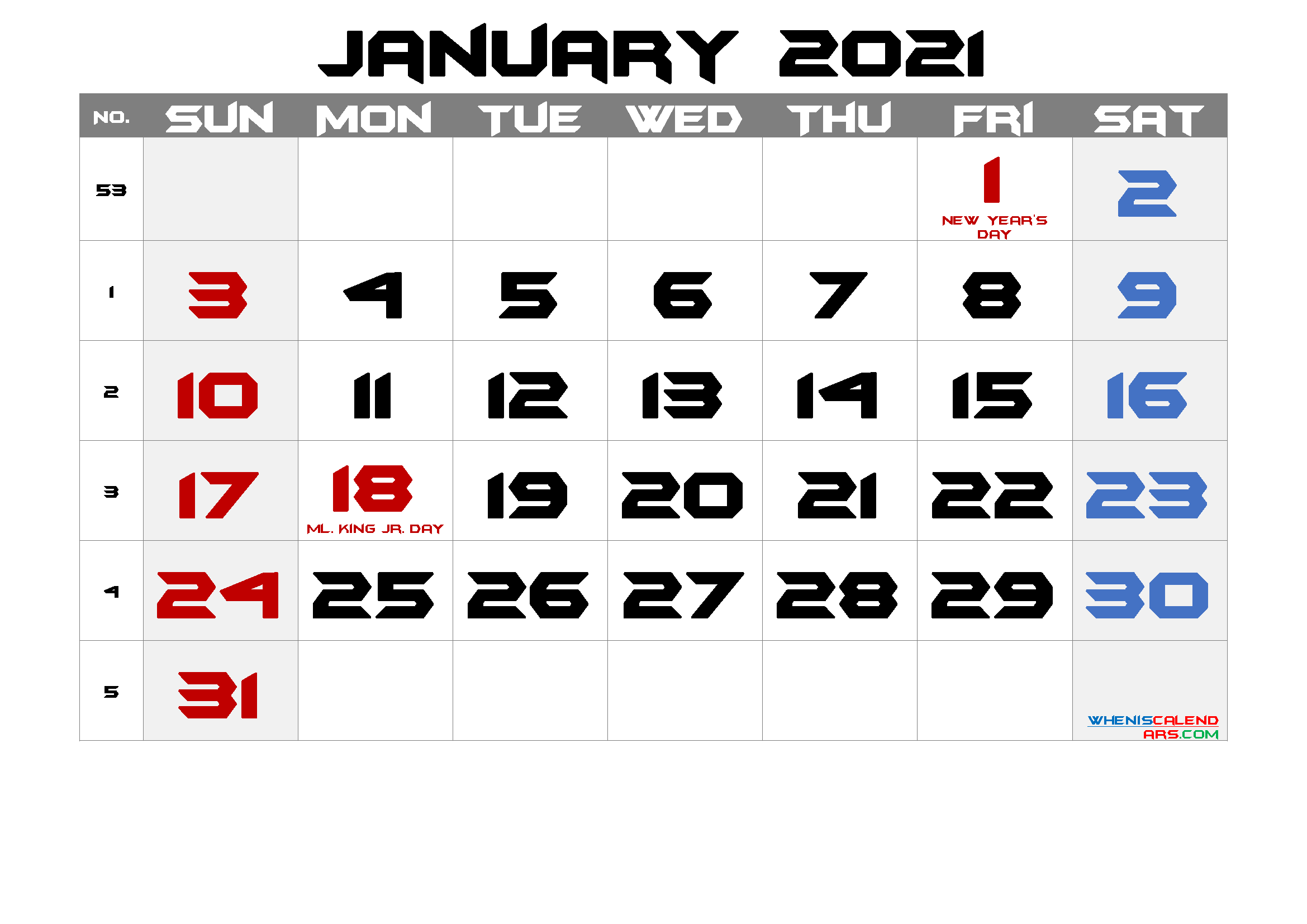 Printable JANUARY 2021 Calendar with Holidays