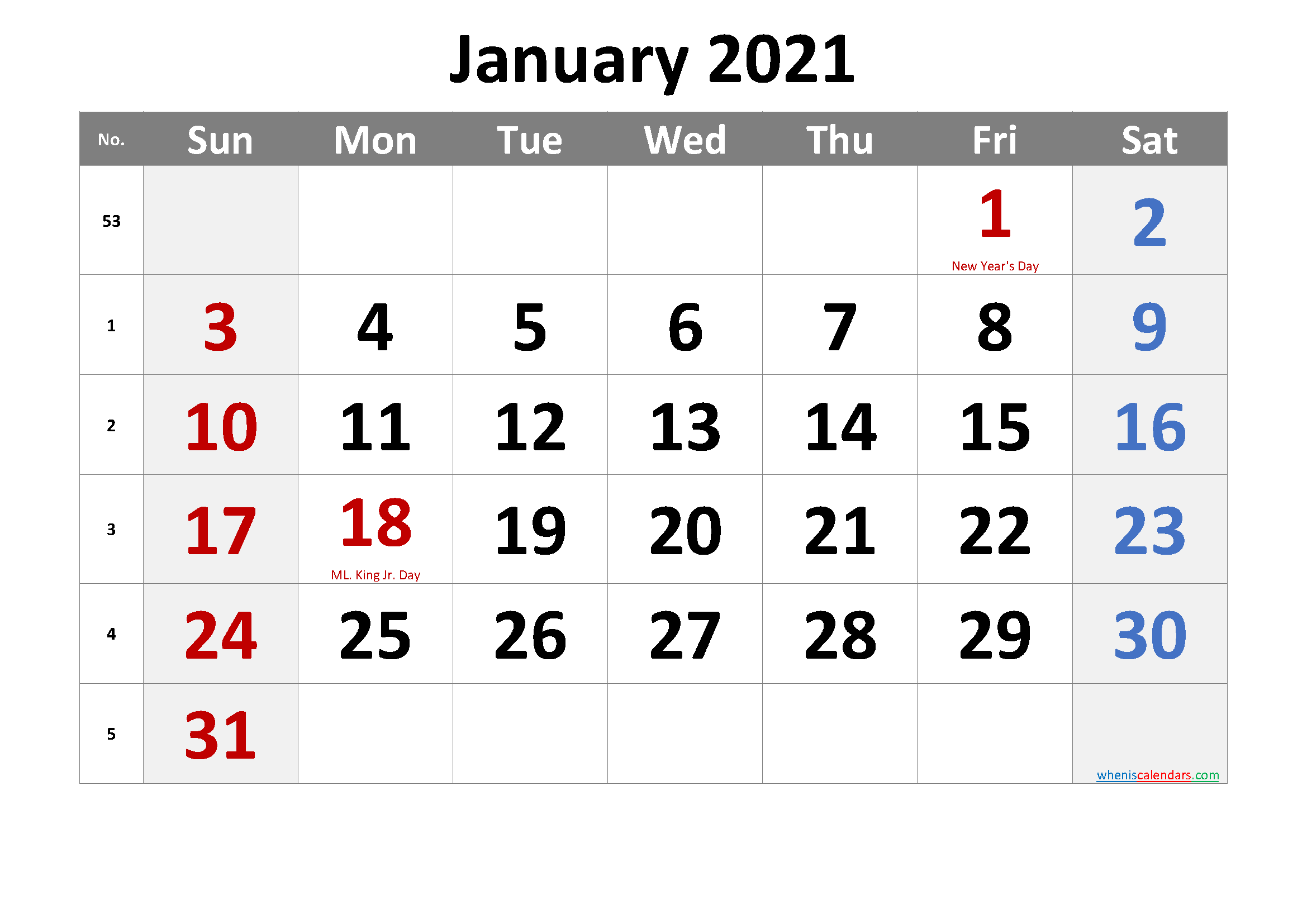Free January 2021 Monthly Calendar Template Word
